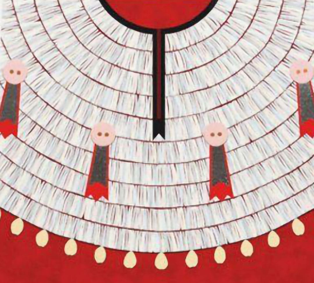 A cropped, straight-on view of a red dentalium shell dress abstracted as a flat plane of color with intricate linework for beading.