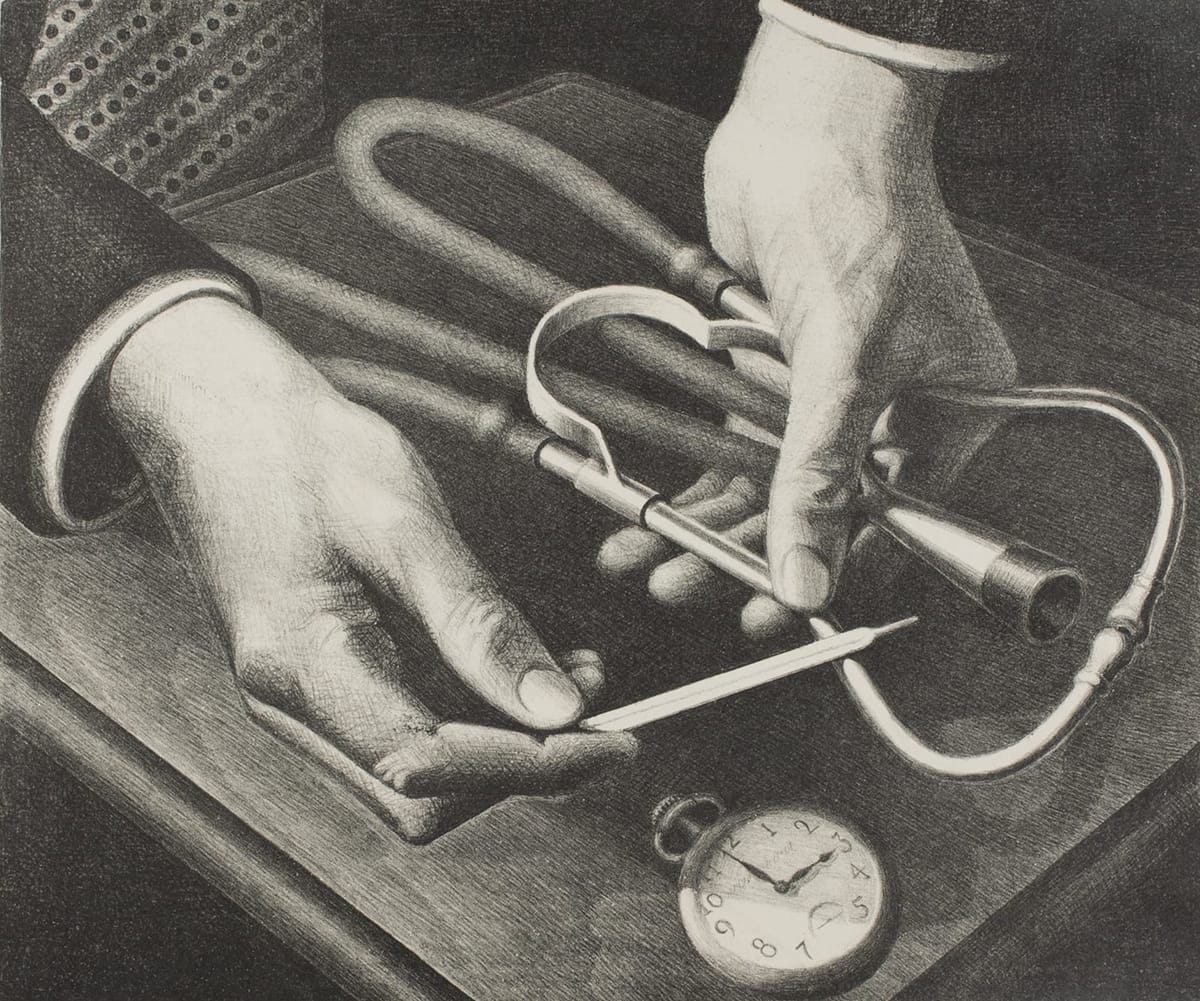 Close-up view of a physician's hands gently holding a folded stethoscope in his left and a thermometer in his right above a wooden table. Below, a metal stopwatch lies on the table, facing the viewer, showing the time is just before 3 o'clock.