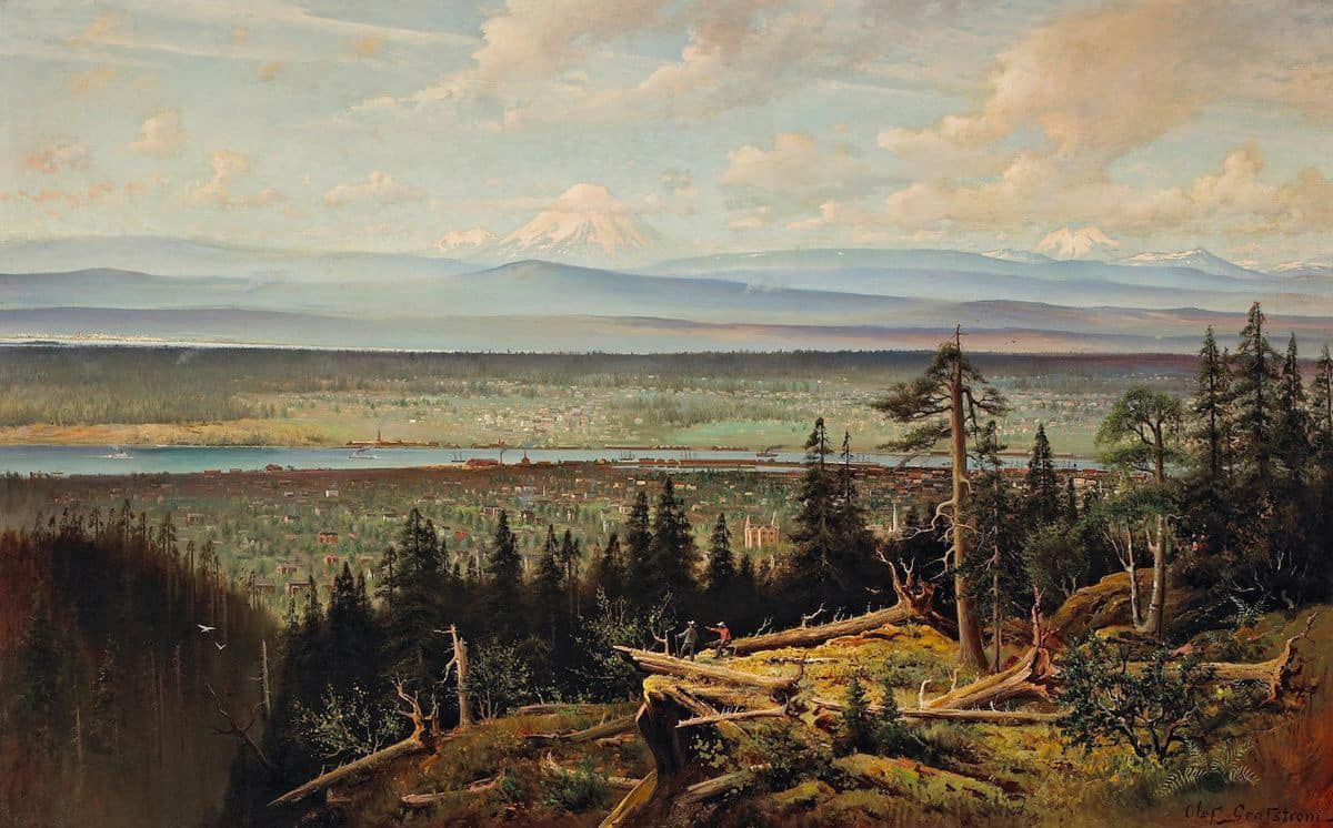 A panoramic view of Portland looking north from the West Hills. The foreground is wild with old trees and vegetation. Shortly below, two men gaze out at the vista, one of them pointing west. Beyond the trees on the hillsides below is the west side of Portland, already well developed with structures. The Willamette River, dotted with ships, runs through the middle of the composition. In the distance, the Columbia River is largely hidden by trees. Beyond rolling hills are snowcapped Mounts Rainier, St. Helens, and Adams. Clouds streak the sky catching the warm, late-afternoon sunlight.
