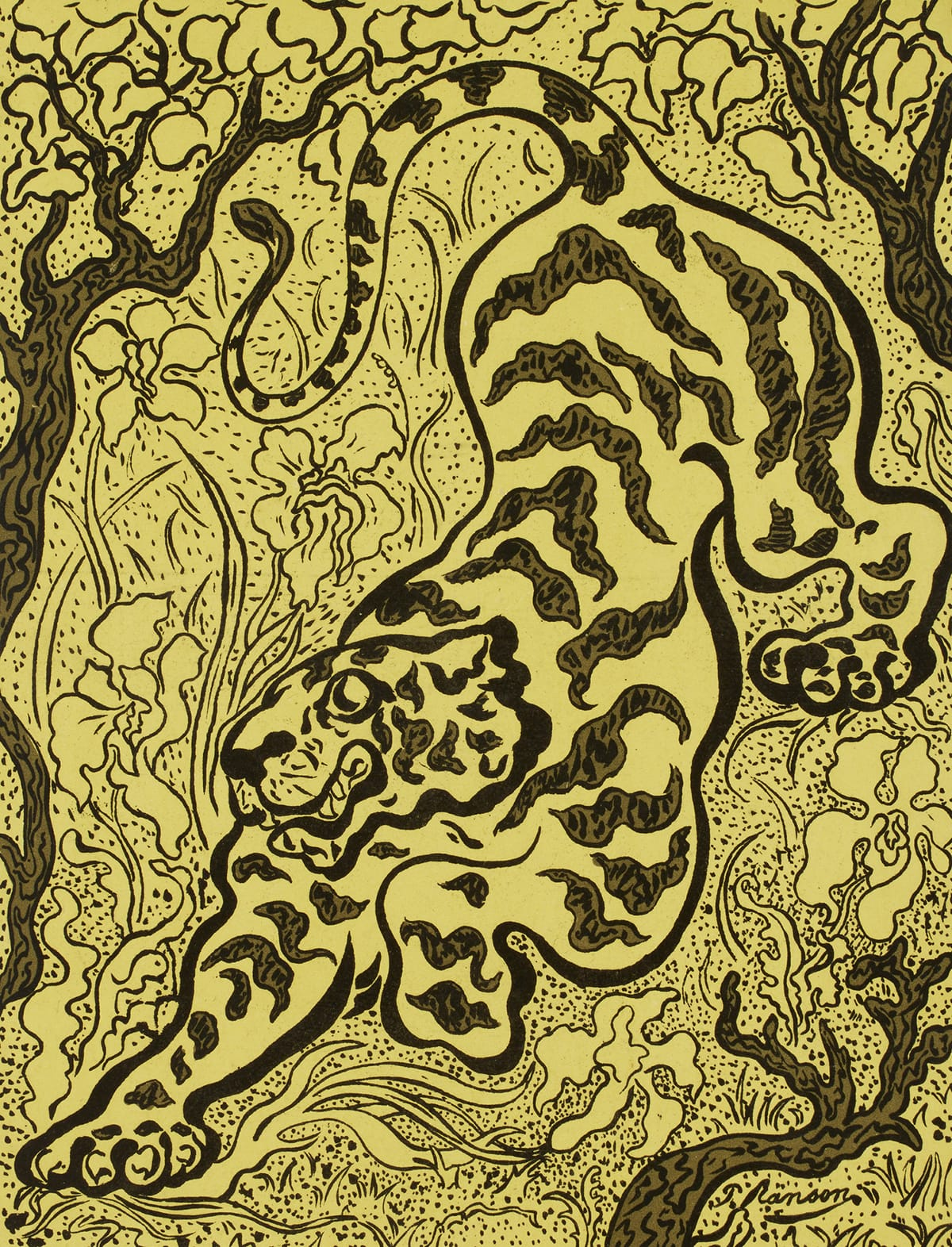 Vibrant yellow background with playful black lines depicting a tiger amidst flora ready to pounce.