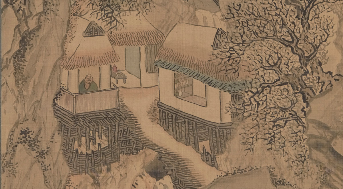 A scholar sits in a tiny cottage that is perched on stilts over a rushing stream within a mountainous scene.