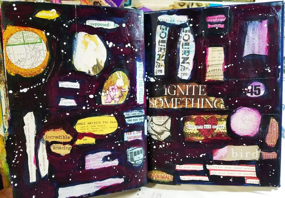 Image Description: Sketchbook pages depicting a dark starry sky with collage elements of cutout text and animals.