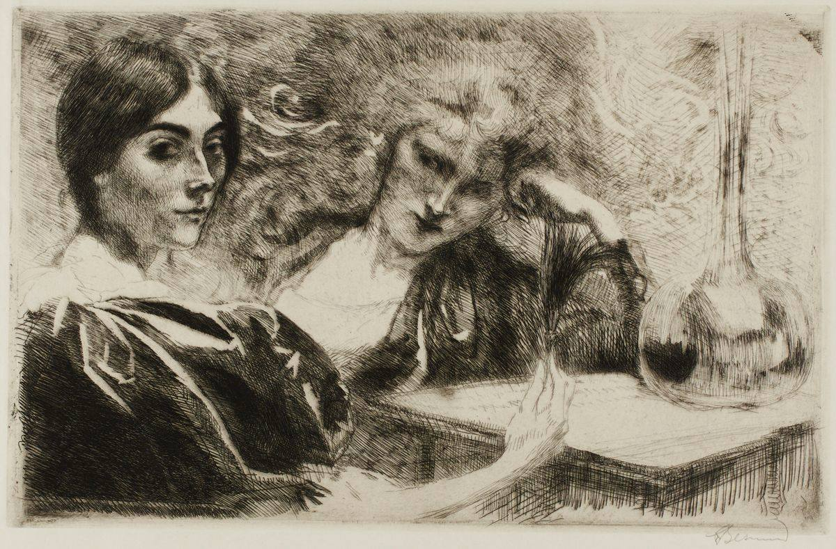 Black etching on cream paper depicting two light-skinned women sitting at a table seen from about the waist up. The first woman is at far left, seen from the side, her body facing right but head turned to look to the viewer or artist. She has a cap of dark hair parted in the center, dark arched eyebrows, and large, dark eyes. Her nose is narrow, she has high cheekbones, a small mouth, and pointed chin. Her dark, voluminous, puffy sleeve takes up most of the bottom left corner. Areas of the cream, unworked paper depict the gathers and folds of the huge sleeve. Her thin, pale forearm extends from the huge sleeve and ends in a bony hand that rests on the edge of a table, holding a black feather. Her companion is at center, facing front, head resting on her hand and tilted to the right, her elbow on table. She appears to be looking to the left at the other woman. She has lighter hair and her face appears slightly hazy as if seen through smoke. Line work radiates off head combining her hair with the swirling background, creating a feeling of movement. A large, tall carafe sits at right on the table. It has a short, squat body with a long neck that reaches up to nearly the top right of the work. The entire work is composed of very thin linework, hatched and crosshatched to achieve shading and texture. A wide unworked border surrounds the scene.