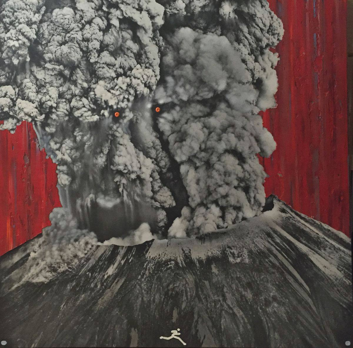 Square painting of the eruption of Mt. Saint Helens. A vivid thick red paint covers the background with thin vertical lines of brown, gray, and blue paint over the red. The black and white image of the volcano is overlaid onto the red background. Sharp lines outline the edges, rim, and crevices of the volcano. A layer of white ash lines the rim and some of the slopes. As the large plume of ash billows out from the center and reaches to the top of the frame, some areas are blurred from the movement of the eruption. In the center, two orange circles form eyes on top of a distorted facial image formed by the ash. The bottom of the frame has a gray dot in each corner, and in the middle a gray stick figure appears to be running towards the right corner.
