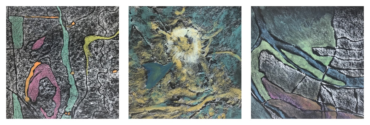 Series of three square paintings that resemble overhead maps. Left: Black and white marbled background with black lines, and various patches of turquoise, orange, pink, yellow and orange. Center: Turquoise and yellow background with white circular area in the middle. Right: Right side has black and white marbled texture with black cracks, left side has a large patch of green with a small long patch of blue like a stream. The bottom has reddish shapes that form a type of foundation for the other pieces.