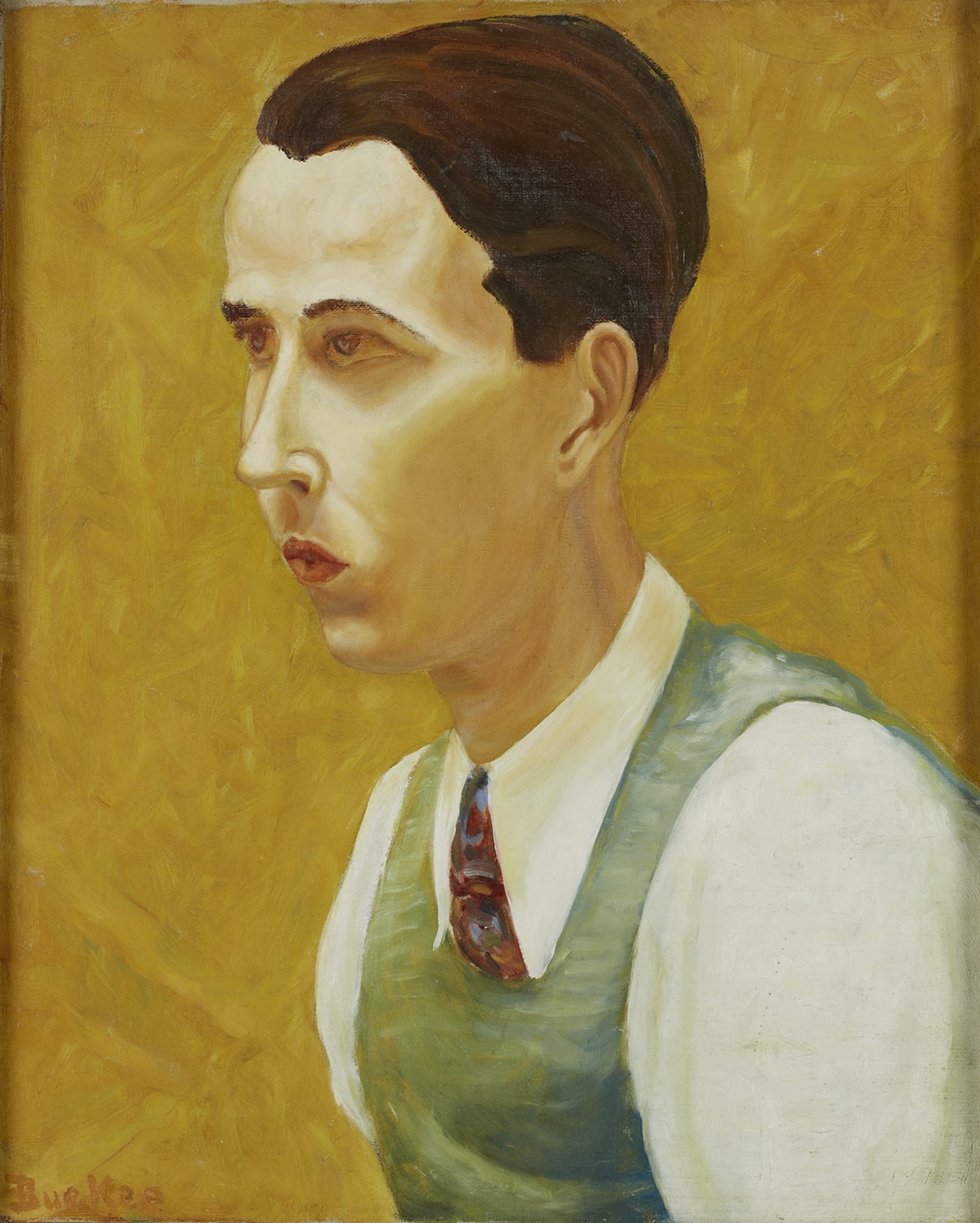 Portrait of a young, light-skinned Asian man, facing left in three-quarter view. He has a small mouth, his lips pursed, thin dark eyebrows, high cheekbones and a long thin nose. His brownish eyes are fixed in an intense gaze off to the left. He has a brown, full head of hair brushed back and elongated ears. Brushstrokes are visible in his hair and skin. Light catches the bridge of his nose, his cheekbones forehead and chin. Some areas reveal the weave of the canvas on which the portrait is painted. The figure wears an off-white collared shirt, with a blue-gray vest with horizontal brushstrokes of white and gold creating texture. A necktie depicted in red, blue and gold brushstrokes is visible at the throat. The background is a rich mustard gold color achieved by multiple brushstrokes filling the entire space.
