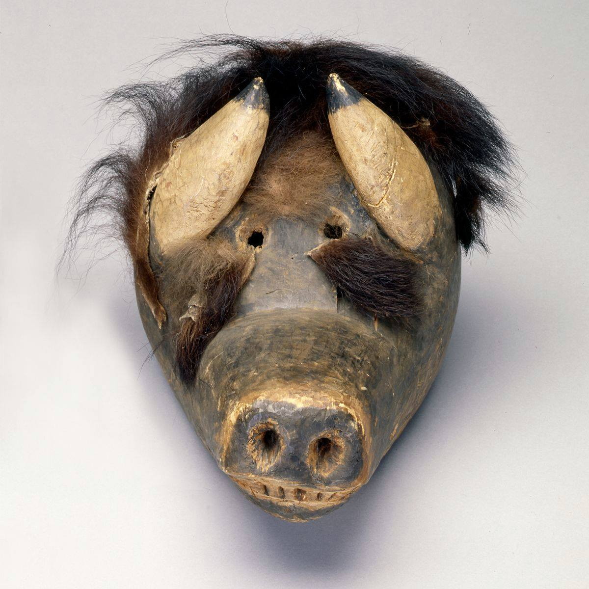 Sculpture depicting a straight-on view of a dark brown, painted wooden face of a buffalo with a long snout. Carving marks are visible over the entire head, especially on the snout, nose, and eyes. Prominent round nostrils in the rectangular nose end the broad snout. A row of six teeth are visible below the nose. Two small round eye holes, spaced close together, sit between two thick, pale tan horns tipped in black. These sit on either side of the eyes pointing inward. Dark, nearly black fur tops the head; the fur is longish and wiry, standing up in places from the head. Lighter brown fur is positioned just above the eye holes. Two patches of buffalo hide are positioned below the eyes just before where the snout begins.