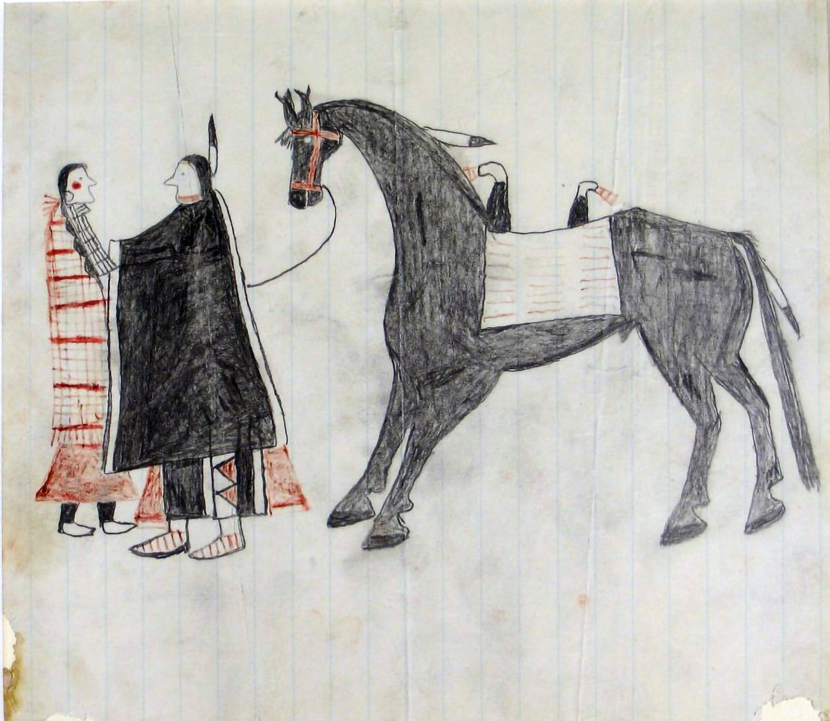 Rectangular line drawing with no modeling on lined white ledger paper (light blue vertical lines). Two figures in profile facing one another stand to left. A large black horse faces the couple in profile, taking up the remaining two thirds of the drawing. The young woman, far left, wears a red-and-white patterned blanket over a red skirt with black leggings and white moccasins. Her black hair is in braids and she has a red circle on her cheek, a bone or shell necklace indicated by black grided lines, and hoop-style earring. The young man figure wears a black blanket with a white stripe at each side, over black leggings with red and white triangle designs, and red and white-striped moccasins. A red stripe is painted along his jawline and a black-tipped white feather is attached to the back of his hair. The horse wears a red bridle, a white double-horned saddle depicted as a rectangle with three rows of horizontal stripes, and a black-tipped feather on his mane and tail. There is no background and the edges of the paper are torn and stained.