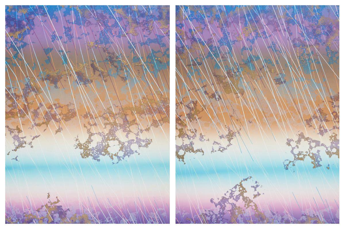 Two upright rectangles, side by side with a narrow white border on all sides and separating the two. Bands of color softly blend to compose the background. The layers from the top are blue, purple, peach, creamy white, turquoise, creamy white, and pale lavender, blending to purple at bottom. In some areas, the bands seem to match up from one panel to the next; in other areas they are slightly misaligned. Overlaying these bands of color in the upper two-thirds of the painting are scattered lace-like formations suggesting clouds. The lower third of the painting containing the creamy white, turquoise, and purple bands are mostly free of clouds. Long, thin, diagonal lines streak from top left to bottom right over the entire painting. The lines change color depending on position over other colors: pink over purple, white over peach, burgundy over blue, and so on.