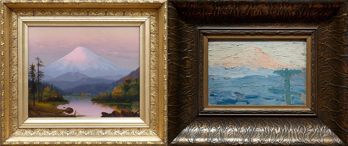 Photographs of two paintings of Mount St. Helens. Both are in ornate frames in differing styles. The first, by Grace Russell Fountain, depicts a peaked mountain covered in shades of white, gray, and muted pink snow at center. Smaller hills run horizontally in front of the mountain at its base, from right to left, in shades of blues and greens. Steep hills slope downward from each side towards the center of the painting. Two tall, sparse pine trees stand at the lower-left foreground. Between the sloping hills is a flat, smooth body of water reflecting the surrounding foliage and the muted gray sky. A bit of rocky shore is visible at lower right in the foreground. Bright shiny gold frame surrounds the painting. The painting at the right, by Clara Jane Stephens, shows the mountain situated left of center in the top third of the painting, its peak almost touching the top of the painting. The mountain is painted with thick, textured brushstrokes in whites and pale pinks. The bottom two-thirds of the painting suggests a landscape consisting of heavy brushstrokes in shades of blues and grays. In the foreground at right stands a telephone pole: vertical post with a bar across its top and another about halfway down. The paint is applied thickly and roughly creating a sense of texture. A thick, deep brown frame surrounds this painting.