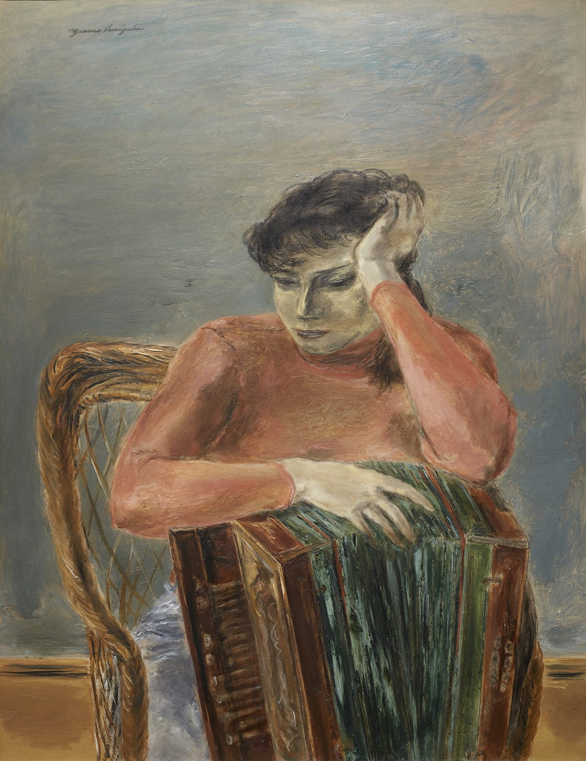A vertical, rectangular painting of a young, light-skinned woman sitting in a chair with an accordion in front of her. The figure and instrument are at center and take up the bottom three quarters of the painting and almost the full width. The figure has dark wispy hair that falls across her forehead. She rests her head on her left hand. Her left elbow rests of the corner of a large accordion. Her right arm and hand lie across the top of the instrument. The accordion obscures the lower torso and legs of the figure. It consists of the bellows depicted in gray, olive green, and black, streaky brushwork sandwiched between brown keyboard with grill and end piece. Part of a brown braided wicker chair that she sits on can be seen at the left. She wears a long-sleeved, pink, high-necked top. The figure's body faces front, her head turned partially to the left, her eyes half closed. She wears a somber expression. The background shows a bare, grayish-blue wall over a taupe base and brown floor. Brushwork is rough and seemingly random with visible finger smudges and brush strokes. The artist's signature appears at top left in cursive writing in dark gray paint.