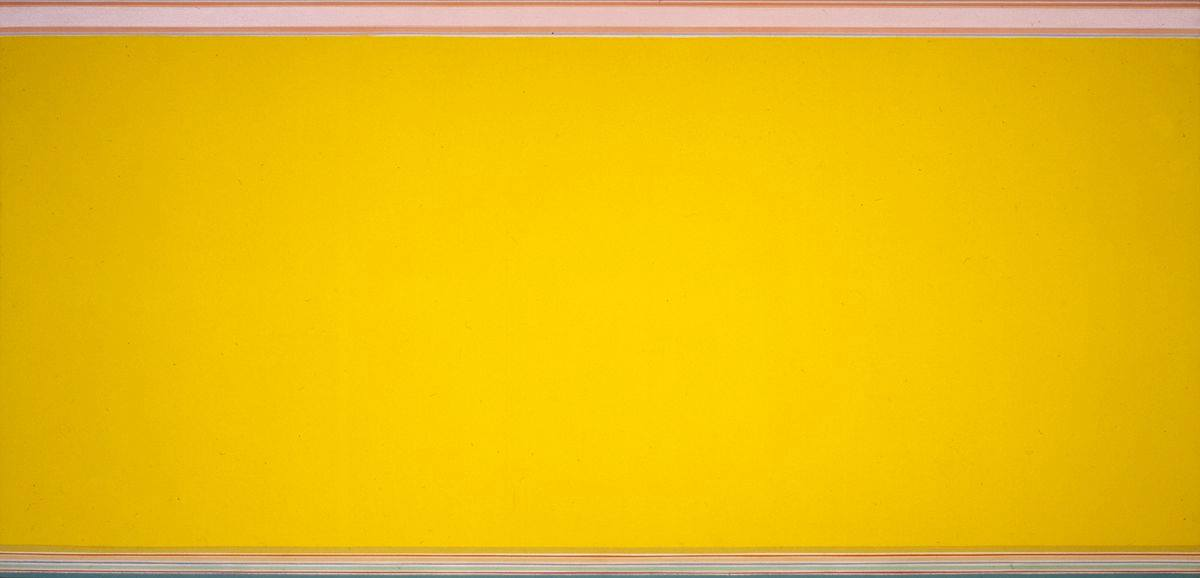 Horizontally oriented painting featuring a wide, golden-yellow band, extending from edge to edge, left to right. At the top edge, a narrow band runs across the entire width of painting. This band is composed of thin bands of various colors and widths: very narrow bands of deep burgundy, black, coral pink, pale gray, and coral pink again, top a much wider band of pale coral. Underneath are more narrow bands of pale tannish peach, pale coral, pale tannish peach again, a grayish blue and finally off white. The bottom is composed of similar bands of varying widths and colors: the first is a slightly darker gold, followed by an off white, a burnt orange, very pale peach, slightly darker peach, very pale peach again, a periwinkle blue, pale green, a sage green, pale green, a bold red, a very narrow off white, a wider grayish blue and finally a black band finishes the piece.