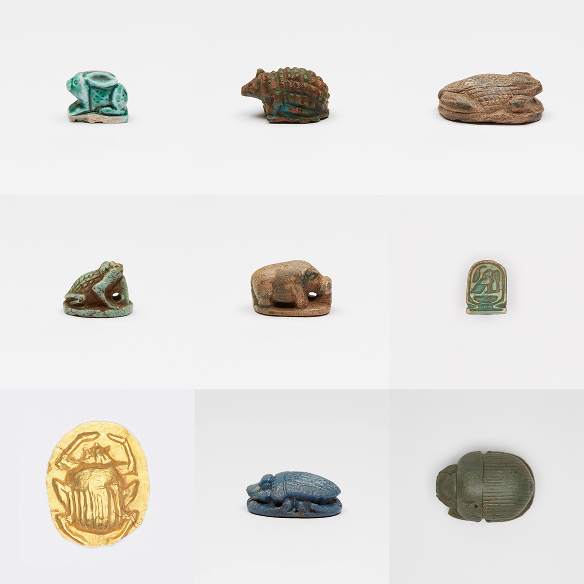 Nine color photographs of very small carved sculptural scaraboids arranged in a 3 by 3 grid.