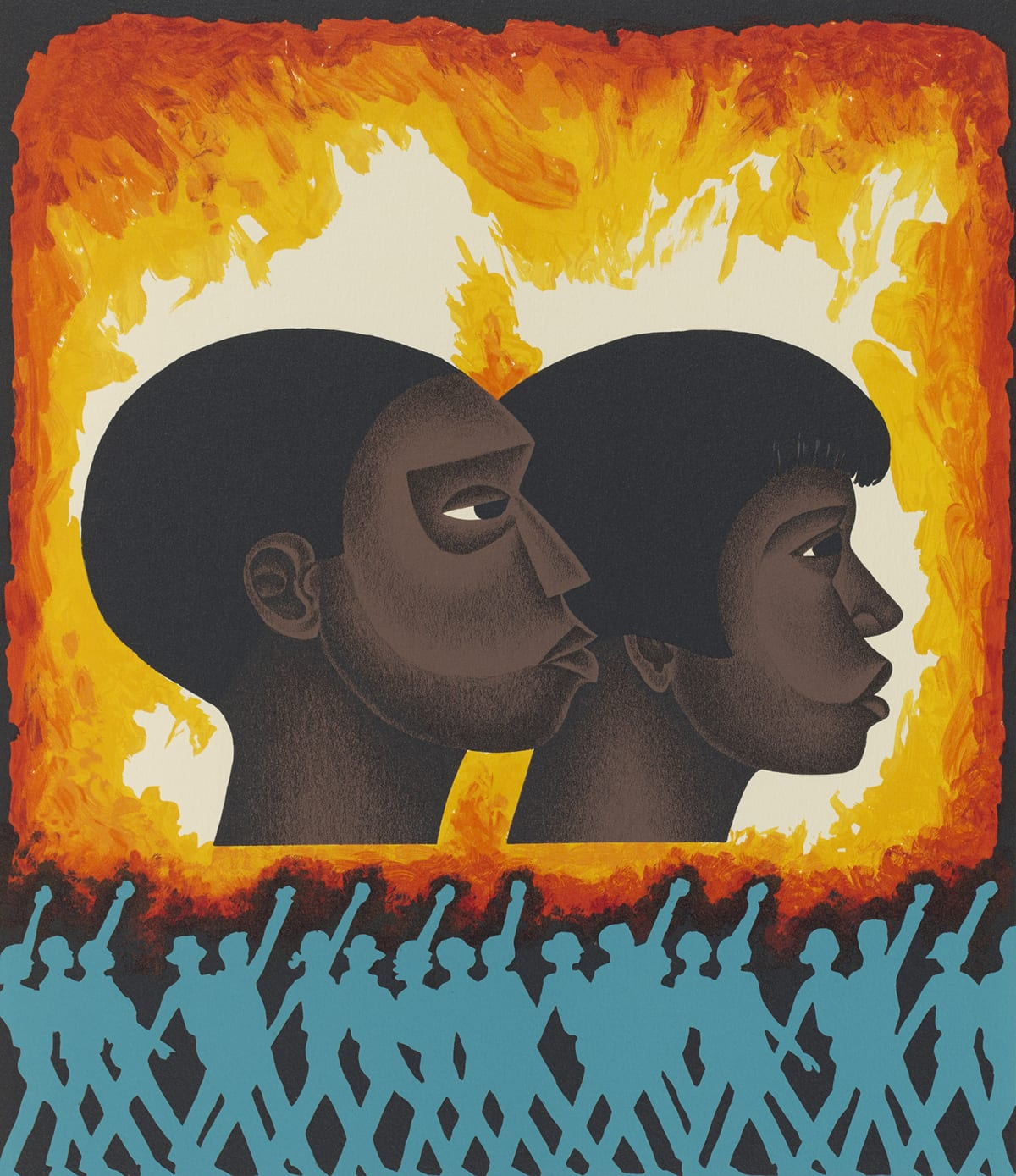 A vertical rectangular book page with an image of the profiles of two heads in the center. The individuals appear to be male presenting and female presenting. Both figures face right, have dark brown skin, black hair, and flat, stylized features. The male-presenting individual has a close cap of hair, the female presenting figure's hair has longer sides and bangs. Facial features are delineated by sharp, crisp shading around the nose, eyes, mouth, jaw and neck. Their expressions are neutral. Surrounding the heads and over a black background, uneven brushstrokes in bright orange blending to yellow and finally what appears to be the white paper, give the overall suggestion of fire and flames around the two heads. At the bottom edge of the page running from side to side and about one quarter the way up, is a row of silhouetted figures in blue over a black background. They appear to be marching, some with fists raised that almost touch the red and orange flames depicted above them. Their legs cross each other creating an X pattern. Each individual seems to be unique, some with hats or hairstyles evident. The stitching from the binding of the book can be seen at right, running from top to bottom along the extreme left edge. The central image is surrounded by a wide cream border.