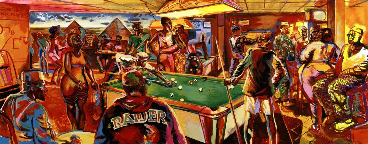 A wide, horizontally oriented painting of the crowded interior of a social club. Rendered in hues of red, rust, orange, pink, brown, purple, green, blue, and yellow, the overall impression is one of energy, vitality and movement. A pool table with a green felt is positioned long ways with an overhead lighting fixture at center. Surrounding the pool table are African American figures either engaged with each other, playing pool, embracing, using a cigarette machine, seemingly chatting, sitting on a high bar stool, sitting at small tables or moving about the room. Positioned at twelve o'clock are a couple seen from the back embracing, faces turned towards each other; to the right is a male-presenting figure operating a cigarette machine; at one o'clock a group of male-presenting figures appear to smile and engage with a figure whose back is turned to the viewer. At three o'clock a figure is seen sitting on a barstool wearing glasses and plaid pants, facing to the left. Just below this figure is the artist's signature, ISAKA, written vertically. Moving towards the center, a male-presenting figure stands back with their back turned, a pool cue in their left hand next to the pool table. Positioned at seven o'clock we see two male-presenting figures sitting at a small table. The figure at far left is, as noted, the artist seen from the side with beard, suspenders and wearing a kufi. His male-presenting companion at the table, seen from the back, wears a ball cap and a jacket with the word RAIDERS across the back. Positioned at roughly three o'clock a female-presenting figure is shown mid-stride wearing a tank-top-style dress and short cropped hair. At 11 o'clock is a group of figures, some sitting at tables, some appearing to be dancing, presented in front of a mural depicting two pyramids and the Sphinx, set against a blue sky with several clouds.