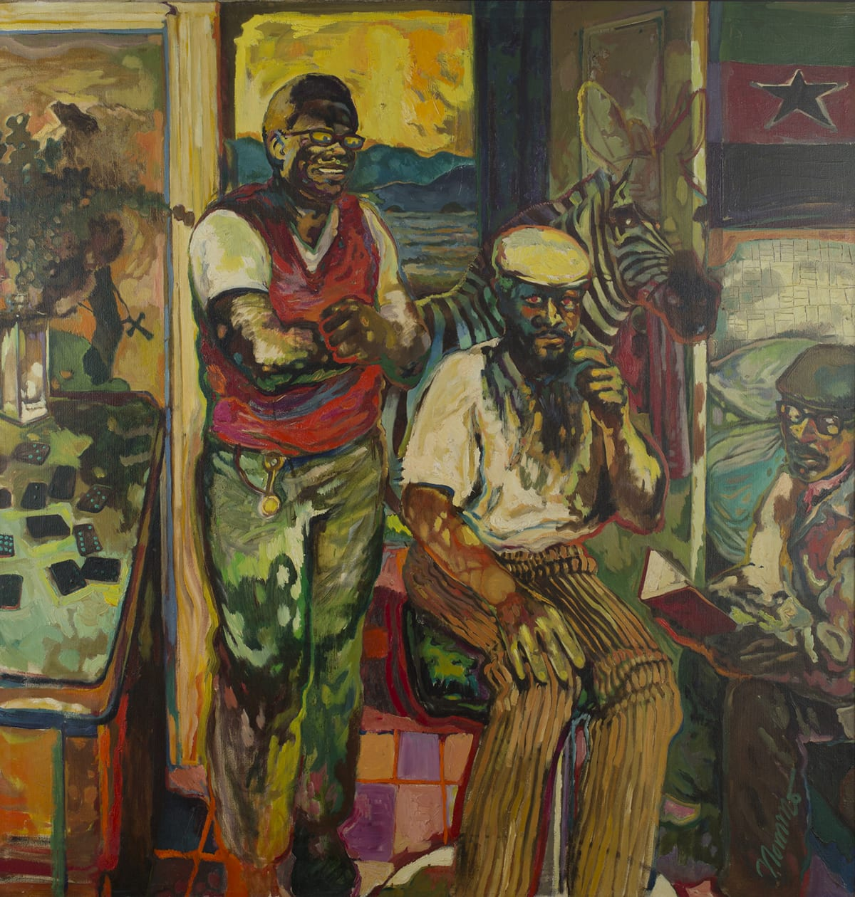 A vertical, rectangular painting showing three African American men. Two of the men are shown in the center of the painting almost filling the height of the work. The figure on the left is standing, arms crossing over his chest. He has dark skin, glasses, short cropped black hair and smiles broadly. He wears a red vest over white short sleeved shirt and greenish pants. To the right is a seated figure with dark skin and a beard. He looks toward the viewer/artist. He wears a light cream, short-sleeved shirt with brown striped pants and a flat cap. His hand at left rests on his knee and his hand at right raised near his chin. To the far right sits another dark-skinned man, sitting on the edge of a bed while appearing to read from a red book. This figure wears glasses, a flat cap and has a beard. He wears a tan and brown jacket and brown pants. There are pillows and blankets behind him. A green, red, and black striped Pan African flag with a black star hangs over the bed at upper right. At far left of the work is a table with dominoes scattered on top along with a flower filled vase. Behind the two central figures is a zebra; part of the head and ears of the animal is depicted in red outline only and is transparent. The neck and upper torso are fully rendered in black and white stripes. Behind the zebra is an open door showing a landscape of water and mountains and a golden yellow sky. The artist uses many colors to depict each shade sometimes combining complementary colors and layering and blending color to create a mottled or variegated effect. Red brushstrokes outline many of the details such as the zebra, the men's arms, the table and a pair of glasses.