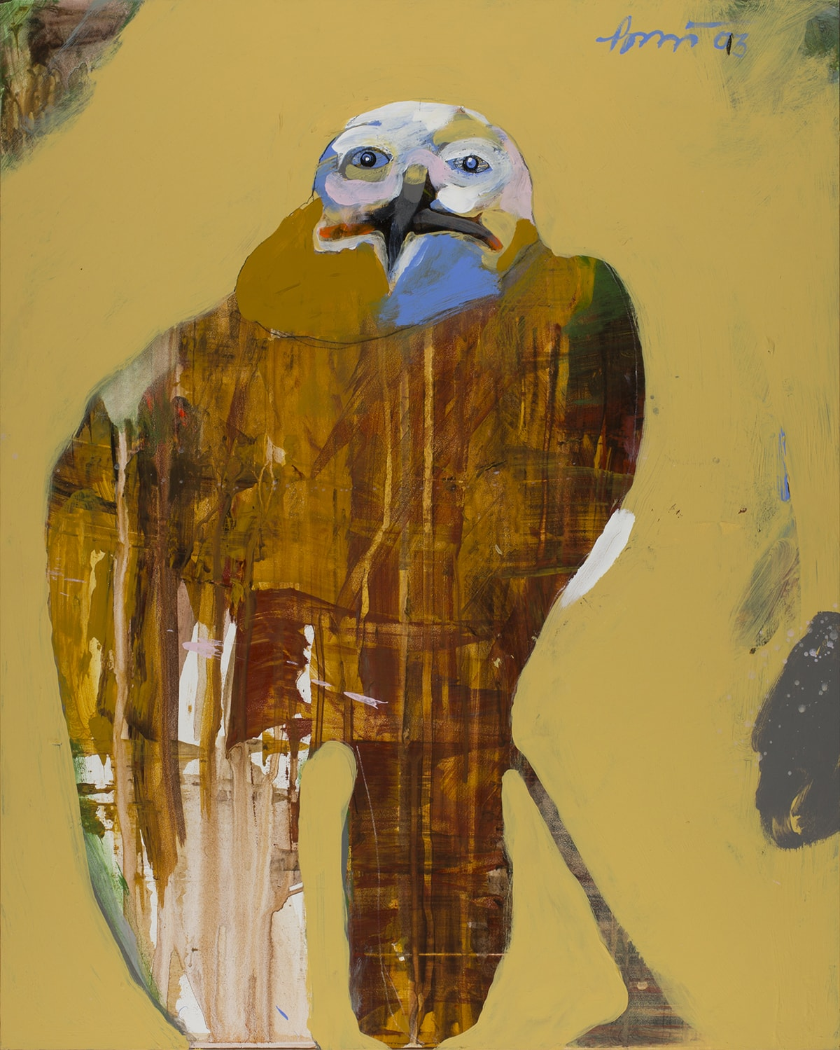 A vertical, rectangular, abstract painting of a bird, possibly an eagle, that takes up most of the frame. The head is painted with heavy brushstrokes in white, gold, pale pink and blue around human-like eyes. A large, black beak stretches horizontally into a grimace with reddish pigment at the corners. Under the beak is a large triangular area of blue brushwork. The body is rendered in a flat manner with paint layered, streaked, dripped and smudged creating horizontal and vertical lines in the paint. Towards the bottom, the body forks into two wing-like areas. Tan, brown, pink, gray and white make up the wing on the left, the right is primarily browns. A dark leg juts from the body of the bird to the right. The bird is shown in a mustard yellow background with visible brushwork. Areas like the upper left and right corners reveal underpainting in browns, greens and gray. The artist's signature is at top right in blue.