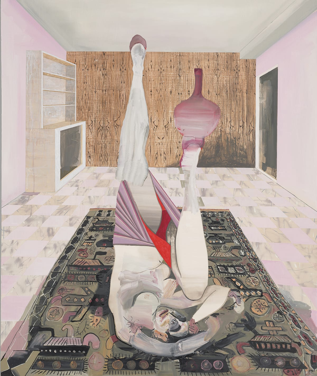Still Life on War Rug, Elizabeth Malaska, 50 ¼ x 40 ¼ inches, oil, Flashe, charcoal, and graphite on canvas. A vertical rectangular painting of a female figure lying on a rug with her legs raised over her head, balancing a vase on one foot with her arms wrapped around her head. The figure is positioned so the viewer sees her from the front and upside down with her head closest to the bottom of the painting. The leg at left is raised straight into the air and the other is bent with her knee forward, towards the viewer. She balances a long necked, purple vase on this foot. Her arms are positioned over her head and lay on the rug. She is nude from the waist up and wears a light purple skirt with a red lining and red undergarments. Her skin color is creamy white with grey shading. The artist varies the style of brushwork on the figure from smooth and blended to thickly applied with broad strokes. Her face has dark heavy brows, a wide flat mouth, and one undefined eye. She lies on intricately patterned rug with various geometric shapes in taupe, gray, peach, and black. The figure is in a room with a checkerboard tile floor depicted in pale pink and marbled beige, gray, and white. At the rear of the room is a wood panel wall painted in browns with dark lines suggesting wood grain. At right of the wall is a dark doorway and at left is an empty beige bookcase. The walls are pale pink and the ceiling is a grayish beige.