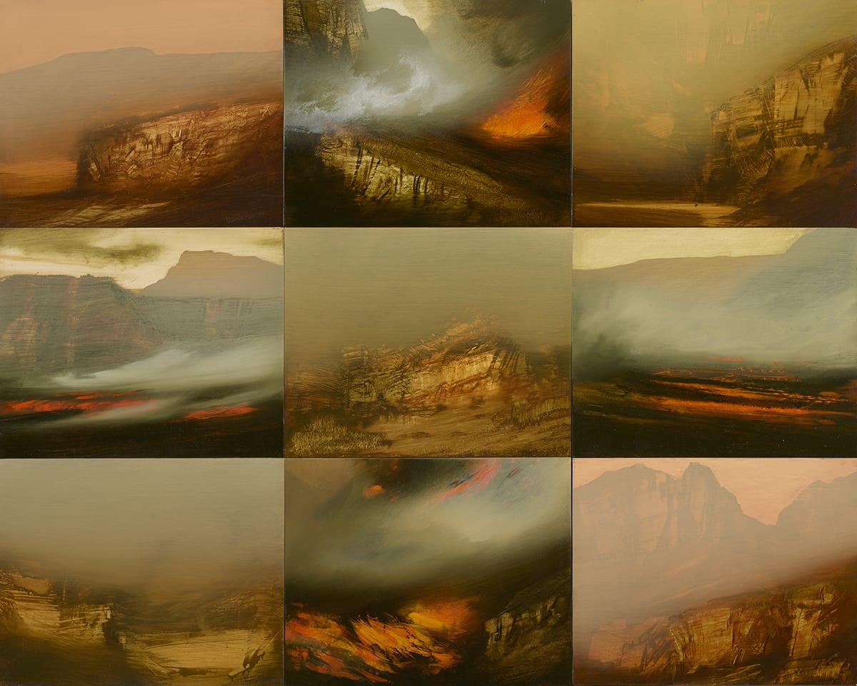 James Lavadour, Salamander, oil on board. Size: 48.5x60x3 inches. A rectangular panel composed of three rows of three images depicting individual landscapes for a total of nine scenes in all. Each abstract landscape is painted in earthy tones of browns, tans, grays with bright rusty reds and shows a rugged landscape with cliffs, mountains, canyons and mist. When viewed from a distance, the images can seem almost like photographs but upon close inspection paint appears to have been applied with broad brush strokes, sometimes scraped and dragged to create jagged, rocky shapes.