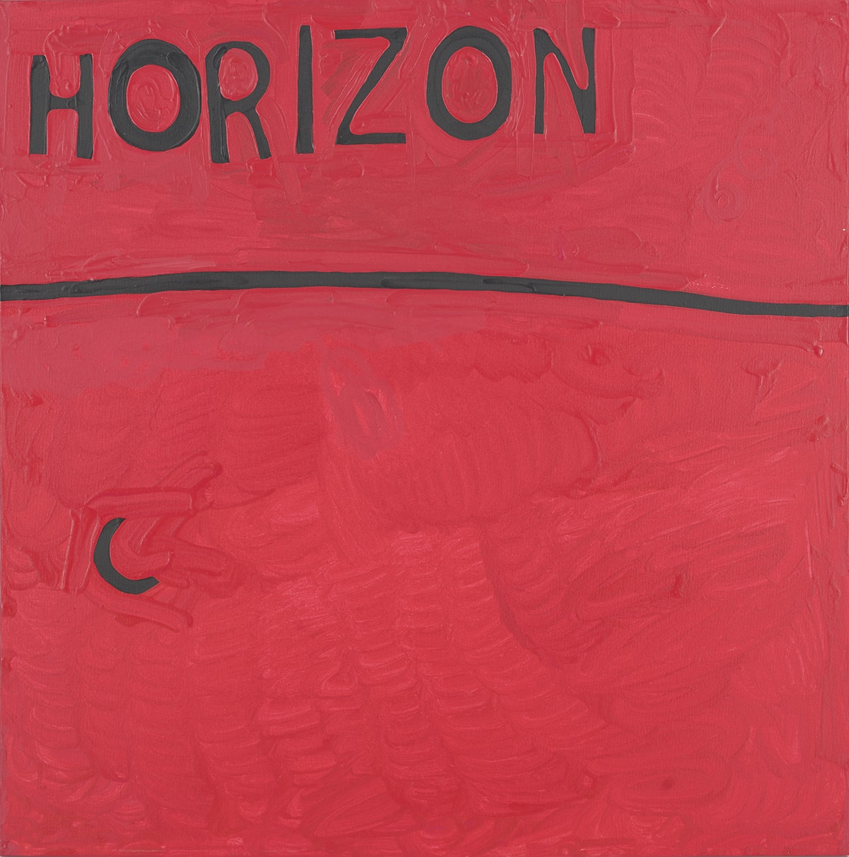 "Untitled, Marlon Mullen, 36 x 36 inches, acrylic on canvas. A square painting showing the word ""Horizon,"" a slightly curved line, and a small crescent shape, all in black on a red background. The background is entirely painted in red with obvious brush work. Paint appears to be applied with short brushstrokes and is thick in some areas. Brushstrokes can be seen especially around the letters in the word ""Horizon,"" at top left, which is painted in all caps. The letters vary in thickness and are unevenly spaced. About a third from the top of the painting a black horizontal line runs from side to side and curves slightly upward in the middle. At left below the line and about a third from the bottom of the painting is a small black crescent shape. Heavy red brushstrokes surround the shape."