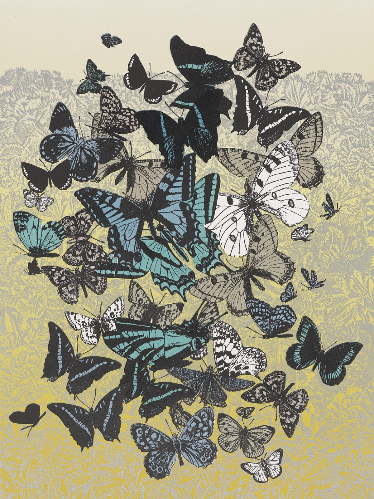 En no chōtachi (Garden of Butterflies), Yoshida Chizuko, 18 1/8 x 13 1/2 inches; sheet: 26 x 19 5/8 inches, color woodblock print with metallic pigment on paper. A vertical, rectangular print showing a mass of butterflies in black, blues, white, and gray over a silver metallic and yellow foliage patterned background. The butterflies are massed mostly in the center of the work leaving a border around them at the edges. They vary in type, color, size, and position. Most prominently, there is a white butterfly with black dotted wings at two o'clock, two in shades of turquoise and pale blue at center that overlap and above them is a black butterfly with pale-blue striped wings. They are surrounded by many others seen from the front with wings spread, from the side, and from above. They vary in pattern from dots to stripes to fine lines to intricately patterned wings. This mass of butterflies is superimposed over a dense, silver metallic foliage printed on paper that begins as pale beige and deepens to a bright yellow as it approaches the bottom of the print.
