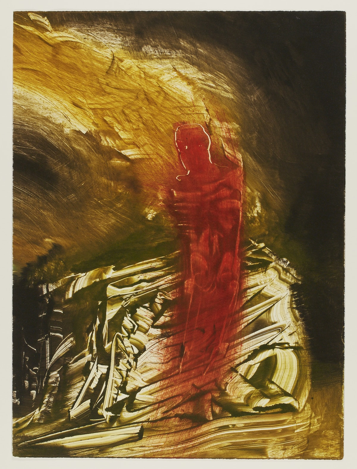 Mandatory, James Lavadour, 17 ¾ x 13 1/8, color monotype on paper. A vertical rectangular print showing a red, armless figure, just right of center, against a background of smudged, scraped and blended earth tones. The figure has the suggestion of a head, its outline incised in the paint revealing the cream-colored base below. The ribs, torso, pelvis, and the legs are covered in a sheer wash of the red color that fades away at the bottom along with the lower legs and feet of the figure. The red color arcs from the figure's head to the left becoming a muddier brown and continues off the work. The figure is placed on a background of earthy brown paint tones which look as if they have been scraped, moved, and manipulated by palette knives and brushes. The effect is sharper, harsher, and darker at the bottom of the monotype and more blended, softer, and lighter at the top half. The right edge of the print from top right to lower right darkens to very deep brownish black.