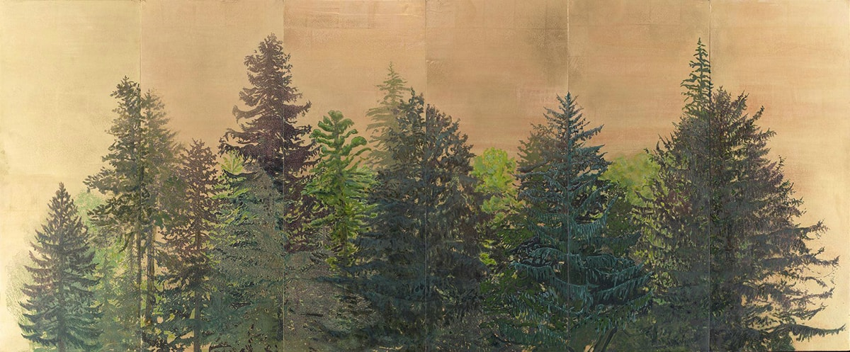 Coastal Range, Rita Robillard, 36 x 87 inches, screen print and acrylic on panel. A horizontal rectangular work showing a stand of evergreen trees in various shades of green against a background of golden tan. The trees are clustered and overlapped but still show individual branches silhouetted against each other. Deep blue-green, grass green, brownish olive hues layer over the golden tan background. There are 5 vertical lines spaced evenly left to right and indicate the separate panels that comprise the work.