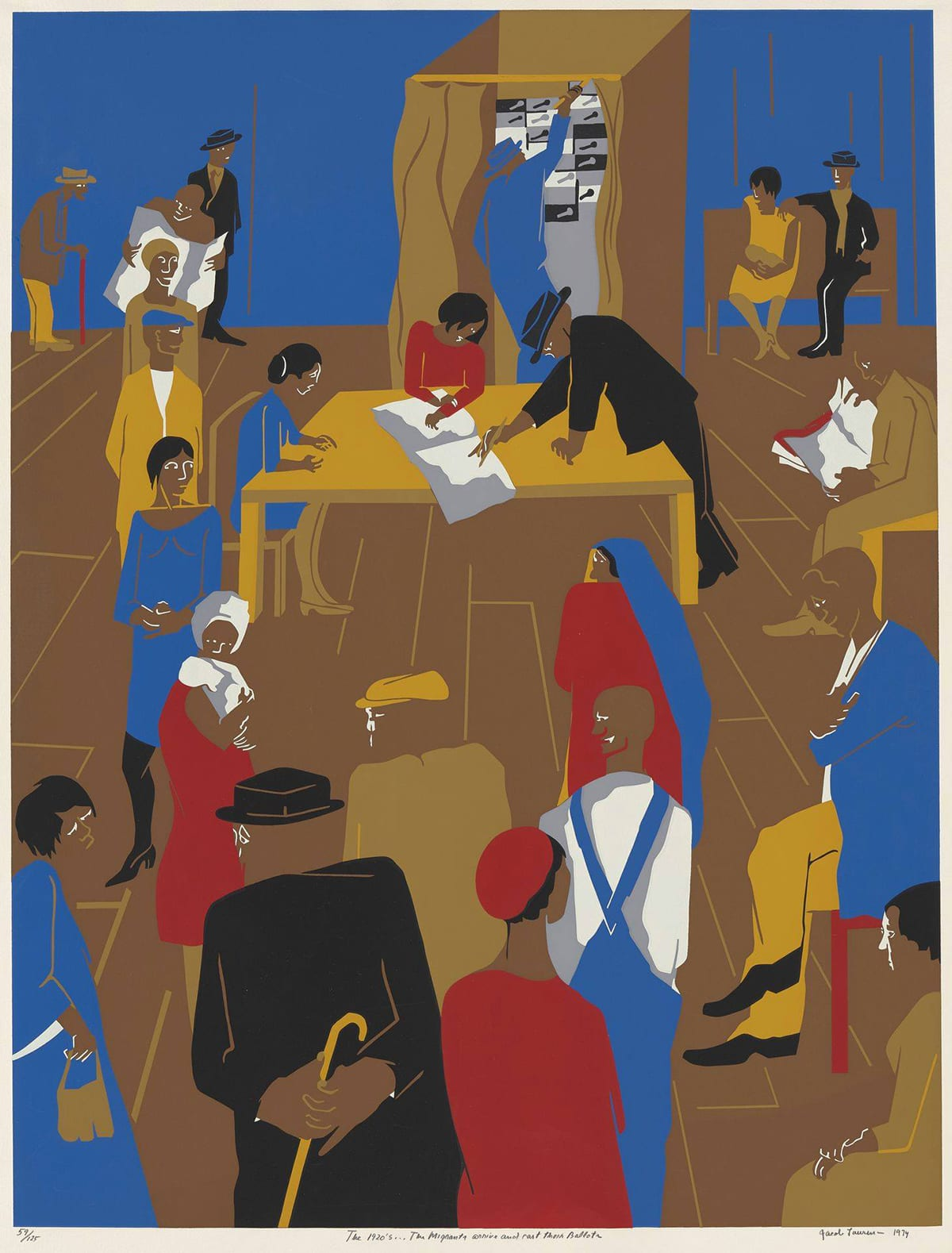 1920's…The Migrants Arrive and Cast Their Ballots, Jacob Lawrence, 32 1/16 x 24 7/16 inches, color screenprint on paper. A vertical, rectangular screenprint depicting the interior of a polling place filled with voters. In top third of the print, a brown voting booth is at center with its curtain partially open to reveal a blue clad voter reaching up to pull levers on a gray, white, and black mechanical voting machine. Positioned in front of the booth is a long, tan table with people at three of the sides. At center is a female figure in red with an open book in front of her. A male figure in black at right signs the book and another female figure in blue sits at the left end of the table. Various figures wait in line creating a loose U shape around the table and voting booth. Some read newspapers, some turn to each other, two hold children and a few are seated. A blue wall stretches across the width of the print at top and the brown floor takes up the bottom two thirds of the work. The print contains limited colors, primarily blue, brick red, black, brown, tan and white. Colors are flat and without variation. Details such as facial features and floorboards are picked out in white or tan outlines.