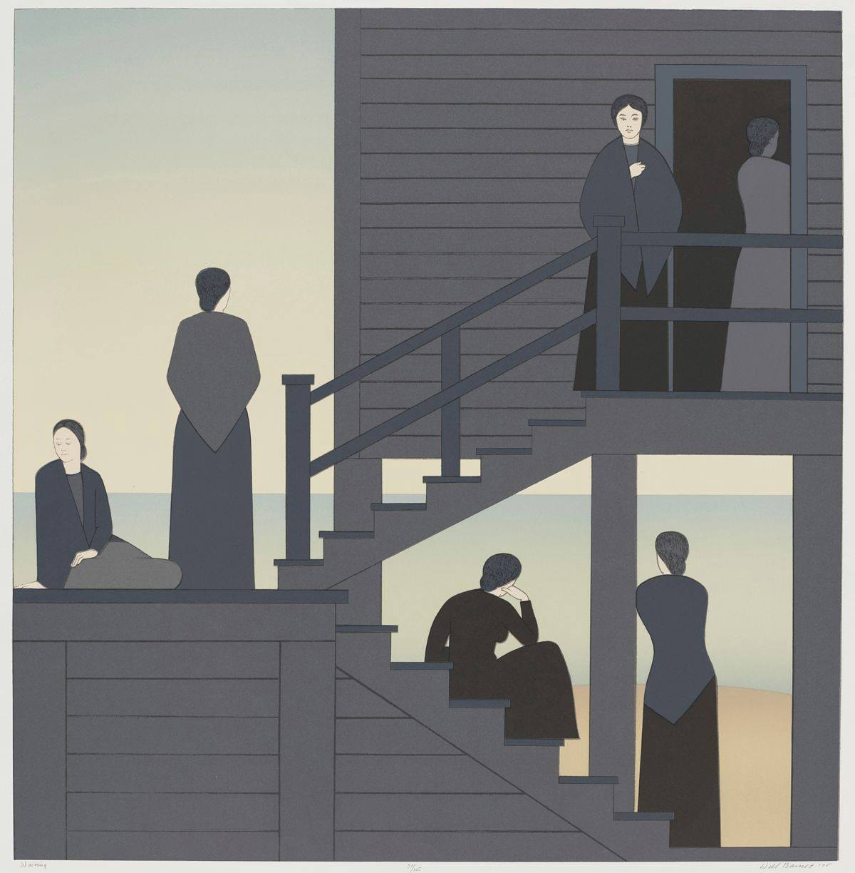 Waiting, from the Kent Bicentennial Portfolio: Spirit of Independence, Will Barnet, color lithograph and screenprint on paper, 33 x 33 7/8 inches, lithograph and screenprint on paper. A square print depicting six women grouped in twos sitting and standing on a set of exterior staircases. The women sit or stand on the upper, middle and lower portions of a switch back staircase attached on the upper level to a building. At upper right are two women positioned just inside and just outside a doorway to a gray clapboard building. One woman stands at a railing and faces the viewer while the other has her back turned and stands inside the doorway in shadow. A staircase leads down to the left. At middle left is a woman standing with her back turned to the viewer next to a woman sitting on the staircase landing and looking left. At bottom left, a woman sits on the second staircase that leads down. She rests her head on her hand while another woman stands below her leaning against a building post, both looking out to the pale blue sea in the background. The women all wear long black or gray dresses and most wear shawls. The structure and the women are rendered in flat gray tones with skin color being white with minimal line drawing facial features.