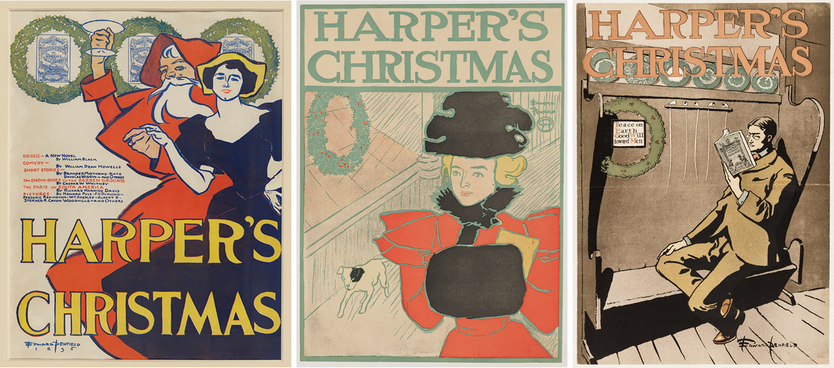 "1. Edward Penfield, Harper's Christmas, 1895, color lithograph, 25 1/2 in × 20 1/4 inches. A vertical horizontal print showing an old-fashioned Santa Claus and a woman in a full skirted, dark dress with the words ""Harper's Christmas"" in yellow. The light skinned woman wears a yellow hat and is positioned at right. She rests an outstretched hand on the Santa's hand who stands slightly behind her at center. Santa wears a red hood and long cloak, has light skin and white beard and raises a glass in a toast. At top behind the pair are three green wreaths. Magazine copy appears at center left of the figures. 2. Harper's Christmas, 1896, color lithograph, 17 5/16 in × 12 15/16 inches. A vertical rectangular print showing a light skinned blonde woman in old- fashioned dress near a store window. The figure is positioned at right and wears a red dress with flounced sleeves and a black fur collar and muff. At right is a store window with a green wreath and a small white dog is on the sidewalk. The words ""Harper's Christmas"" appears across the top in green lettering. 3. Harper's Christmas, 1897, color lithograph, 18 7/8 x 13 1/16 inches. A vertical rectangular print featuring a man in an old-fashioned brown suit reading a book while seated on a settle. The light-skinned man sits on the right end of the bench leaning against an armrest while a green wreath hangs at the left end. The words Harper's Christmas appear across the top of the print in orange letters."