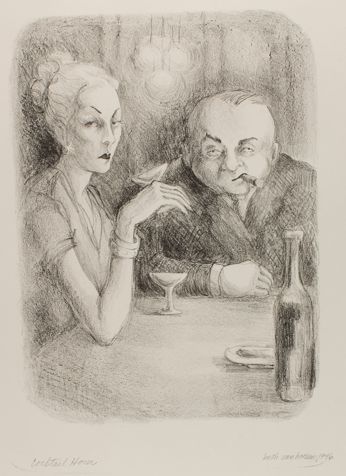 A vertical rectangular print in black on cream depicting two figures in a bar setting having cocktails. At right, a female figure is seen in three quarter view, looking at the viewer holding up a stemmed glass in her hand while her arm rests on her elbow. Her pale hair is swept back from her narrow face and up into a bun. She has thin highly arched eyebrows and a small, dark mouth. She wears a short-sleeved top showing thin arms with bracelets on the wrist. Her hand and fingers are also long and thin. Her companion sits to the right and faces the viewer. He has a round broad face with sparse hair on top. He looks out from hooded eyes and has a cigar stuck in the corner of his mouth. He wears a dark suit on his broad body and rest one arm along the bar. A long necked bottled is seen at lower left. Behind the couple is the suggestion of hanging lights. The print has the appearance of a sketch with line drawing, shading and cross hatching.