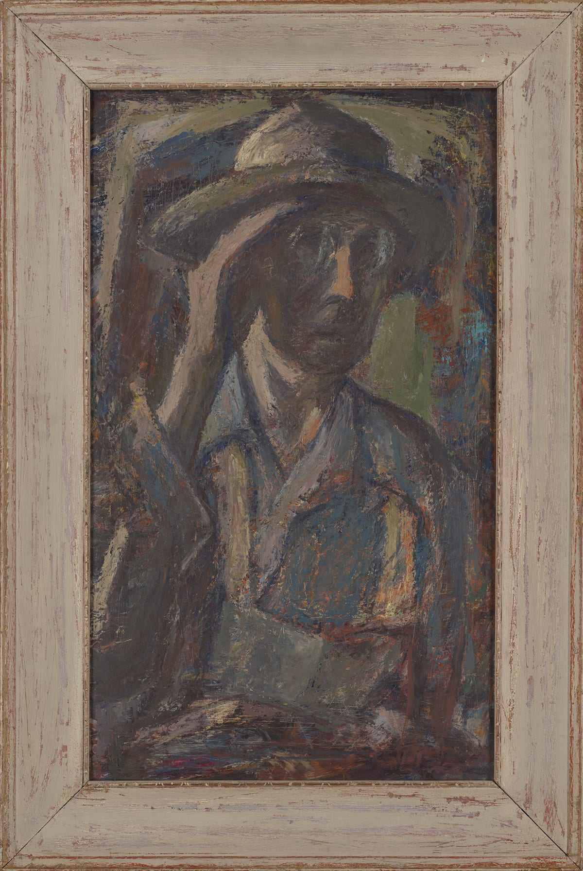 Self-Portrait, Amanda Snyder, 23 inches x 13 ½ inches, oil on masonite. A vertical, rectangular self-portrait painted using mostly muted tones. The paint is built up in layers and often applied with a dry brush giving a rough look to the brushstrokes and letting the colors of underlayers come through. Amanda is depicted from the waist up, head turned a little towards the right, with lips slightly parted, and her hand cupped to the left side of her face shielding the light from her eyes. Most of the face is in the shadow created by the hand except for the nose which catches some light, and there is light reflected off the lenses of the glasses. The artist is wearing a tan and green, brimmed hat, wire-rim glasses, and a blue, collared shirt with sketchy highlights of tan, green, and orange coming through the brushstrokes and patched here and there. The background is composed much like the rest of the painting in loose, dry, rough brushstrokes of the same muted colors making the background and the central figure appear to merge with each other.