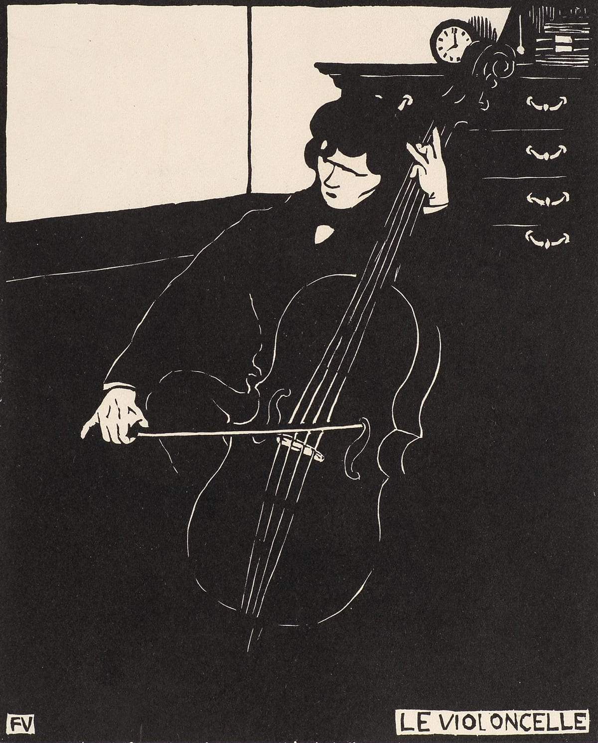 "Le Violoncelle (The Cello), Felix Vallotton, 8 13/16 x 7 inches, woodcut on paper. A vertical, rectangular print rendered in black on cream paper depicting a man playing a cello in the corner of a room. Most of this print is black with the man's face, hands, details of his coat, cello, a portion of a wall and the contents of the room in cream. The man sits at center, drawing a bow across the cello in front of a chest of drawers near a corner of the room. His hair, coat and cello are black with delicate lines in cream showing details of the cello and man. Behind him are a chest of drawers, again in black with cream lines showing the chest's detail and handles. A small round clock sits on the chest. The corner wall behind the man is divided into a lower half in black and the upper half in cream. Much of the print is black with the black letters ""FV"" in a cream box at the lower left corner and ""Le Violoncelle"" at lower right, also in black letters on cream."