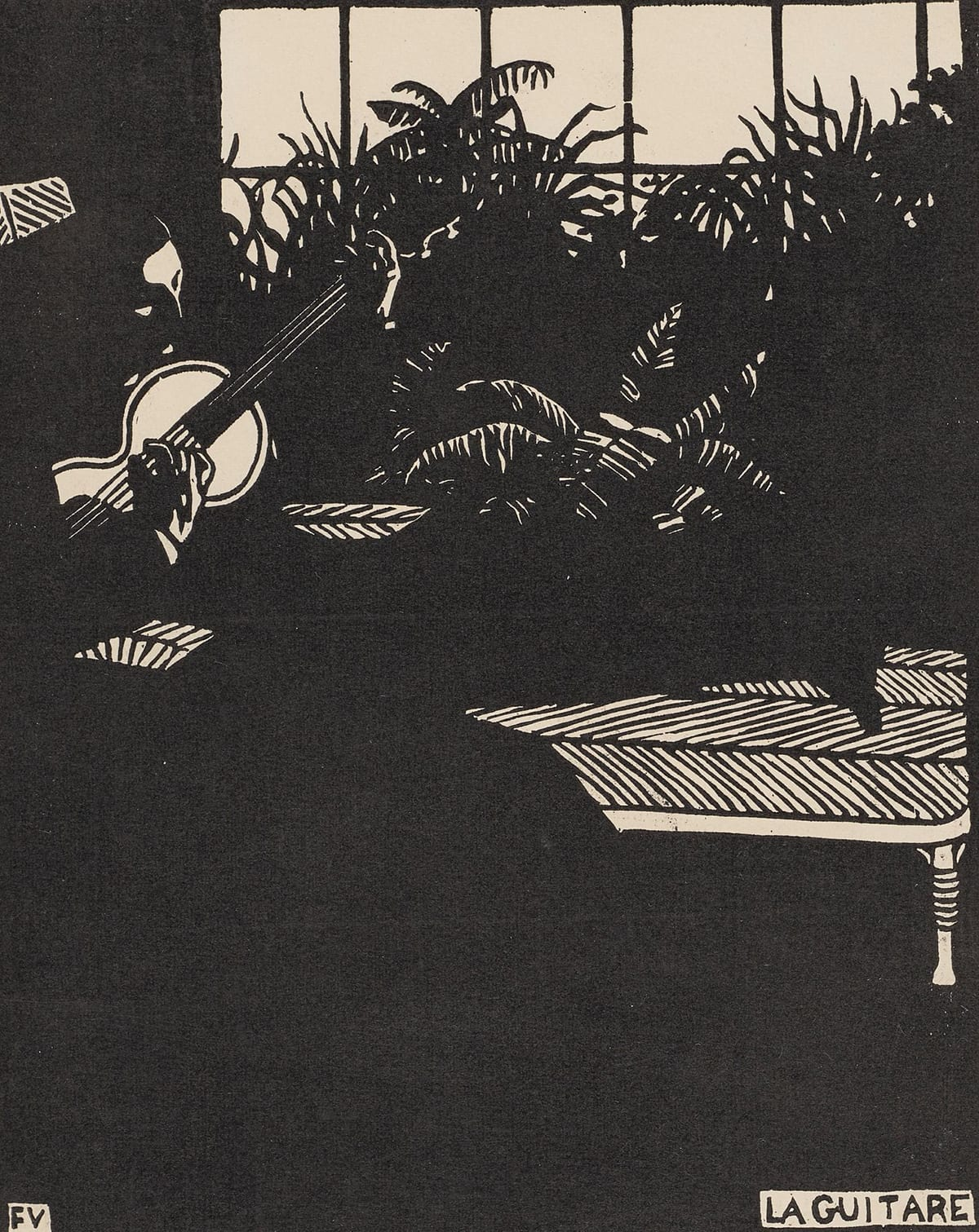 "La Guitare, Felix Vallotton, 8 13/16 x 7 1/16 inches, woodcut on wove paper. A vertical rectangular print rendered in black on cream paper showing a man playing a guitar in the shadows of a room with ferns and a large window. Most of this print is black with the details of the man, plants, a low table and the window in cream. The man sits at left with the guitar held high on his chest. His forehead, lowered eyes, hands, the face of the guitar are in cream. The rest of his figure is the black that continues to make up the surrounding room. To the right of the man there is a bank of ferns set in front of a large paned window. The windowpanes are cream with black mullions. The cream paper shows highlights of the fern fronds amid a mostly black mass of plants. Below the bank of ferns is a low table with a herringbone pattern picked out in black. The bottom quarter of the print is purely black with the exception of the black letters ""FV"" in a cream box at lower left and ""La Guitare"" at lower right, also seen with black letters on cream."