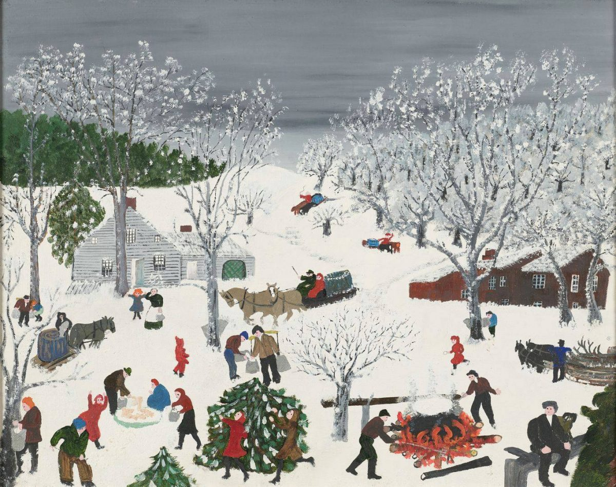 Sugaring Off, Dark Sky, Grandma Moses, 15 ½ x 19 ¾ inches, oil and tempera on commercial canvas board. A horizontal, rectangular landscape painting depicting a bustling outdoor winter scene. The painting is a bird's eye view of people collecting and boiling maple sap to create syrup or sugar amid snow covered ground and trees. At bottom right are two men tending a fire on which a huge black, steaming cauldron boils. At bottom left, another man collects sap from a gray tree with bare, snow-covered branches. At bottom center two children play in front of an evergreen tree. A man and woman make sugar candy in the snow to their left. The center of the painting includes men driving horse drawn sledges containing more sap, children playing, people carrying buckets, people collecting sap from the many trees. A large, rambling, dark red house sits at right center and a light gray house is at left. Snow covered hills continue in the background and show more horse drawn sledges heading towards the action in the center of the painting. A stand of evergreen trees is at left in the distance. A dark gray sky completes the scene. The people wear shades of brown and black with many wearing brick-red and blue. The painting's style is child-like with simply drawn faces and flat shapes and figures.