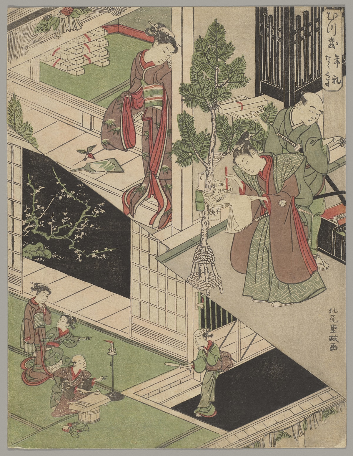 The First Month: New Year Visits, The Seven Herbs Ceremony, 9 12/16 x 7 ½ inches, color woodblock on paper. A vertical rectangular print divided into two scenes diagonally by a zigzagged line. The top half is further divided into a left half and a right half. The left shows a female figure dressed in a mauve and red kimono with her black hair pulled back in an elaborate hairstyle. She stands on a veranda looking through a doorway to an interior. Behind her are white gift boxes stacked on green tatami flooring. At right, a young man in a mauve and green patterned kimono writes on a sheaf of paper that is tied to a small pine tree. Behind him, another man, carries gifts while looking off to the right. This man is bald on top and wears a green kimono with a sword tucked under his arm. At top right, a rectangle contains Japanese writing. The lower half of the print is separated from the top by a zigzagged diagonal line that starts above center left and continues to below center right. The scene below shows a man at left seated in front of a low table while chopping vegetables. He is bald and wears a mauve patterned kimono and holds a chopping tool in his hand while gesturing to a guest that has arrived. Next to him are a pile of vegetables on one side and on the other, a candle in a tall stand. The guest, at right, is an older woman wearing a green kimono and holds a daikon radish. She is approaching a set of steps that leads to the area with green tatami flooring the man sits upon. Behind the man are two female figures, one kneeling and gesturing towards the visitor, the other standing. They both wear kimono and are positioned near an open doorway. Beyond the doorway a blossoming tree can be seen against a black night sky.