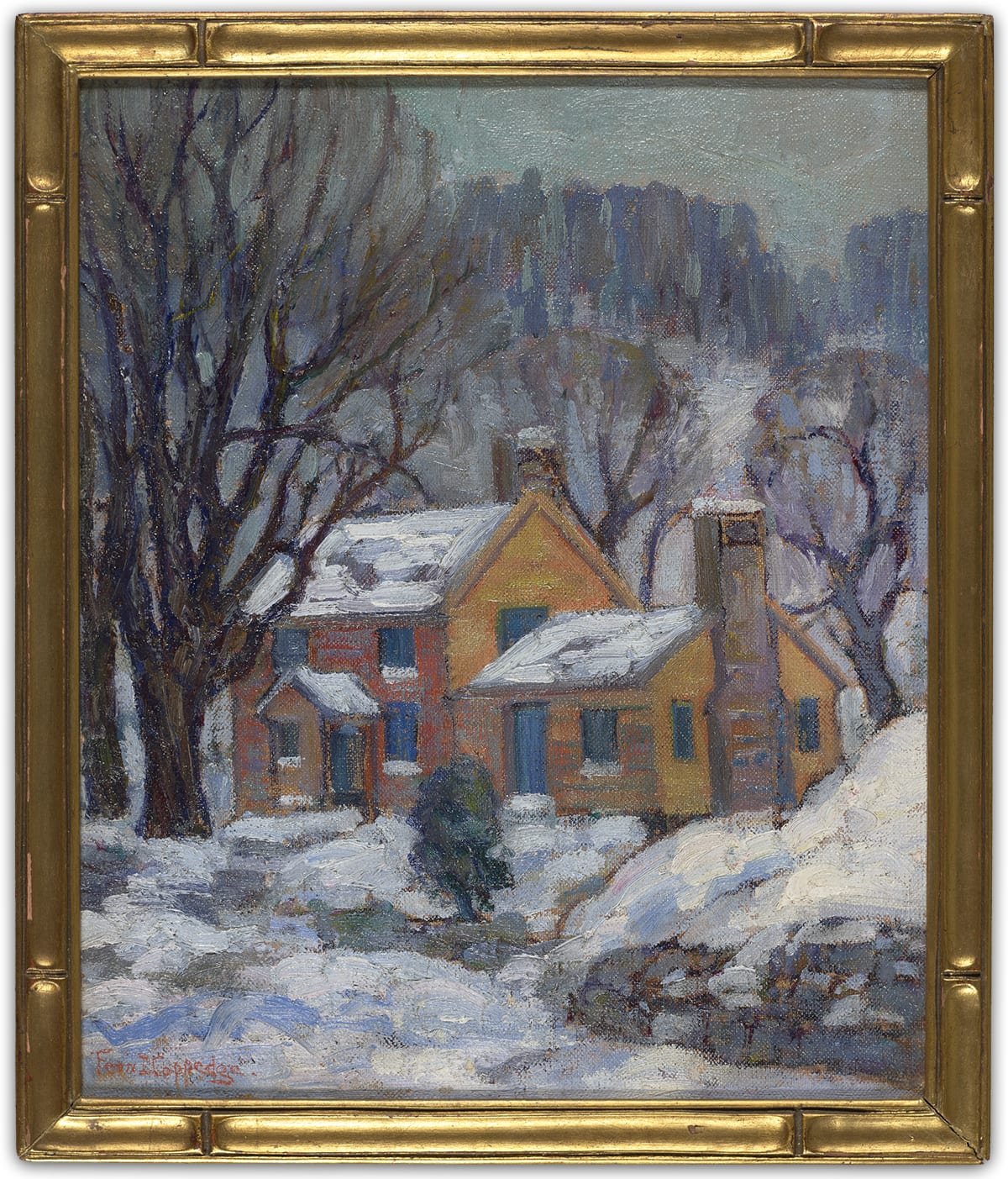 """Little House Next Door"" by Fern Coppedge. Oil on board, 11 ¾ in x 9 ¾ in. Vertical oil painting with thick broad brushstrokes with layers of color framed in a thick gold frame with two small gold lines near the corners on each side. A brown two-story house with a one-story addition to the right sits in the middle of the painting surrounded by five trees with long, bare, bending branches, and landscape covered in snow. A small snow-covered stoop extends past the blue front door which is flanked by blue windows on each side on both stories. The A-frame roof is covered in snow and has a chimney extending at the top on the right. The one-story addition on the right has a blue front door with a window to the right. On the right side of the building a large stone chimney extends past the roof and is flanked by two thin tall windows. Snow covers the yard which is bordered by a gray stone wall. A small bush stands in the corner of the yard. The gray and white sky is visible beyond the trees and a swath of dark vertical strokes resembles mountain landscapes in the background."