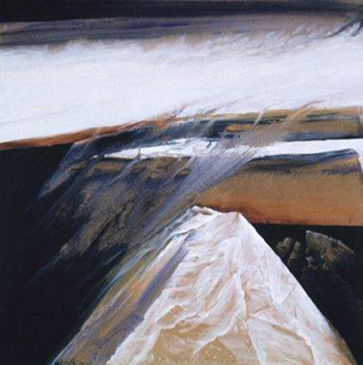 """""""Winter Rain"""" by Neil Meitzler 1972. Acrylic on Masonite. 22 7/8 in x 23 1/8 in. Square painting with strong contrasting colors and textures that give an illusion of 3-D space. A tan snow-covered mountain with a flat top and sharp edges extends from the bottom of the painting to the middle of the painting. Wispy white strokes cover the mountain. Sharp, thin gray clouds extend at an angle past the top left side of the mountain and drift into the thick band of solid white clouds above. A thinner band of bright white clouds surrounded by patches of dark gray clouds float just below the large white cloud. The rest of the horizon is filled with a dark orange glow as if the sun has just set against a solid gray plane. A smaller snow-covered mountain is barely visible in the distance."""
