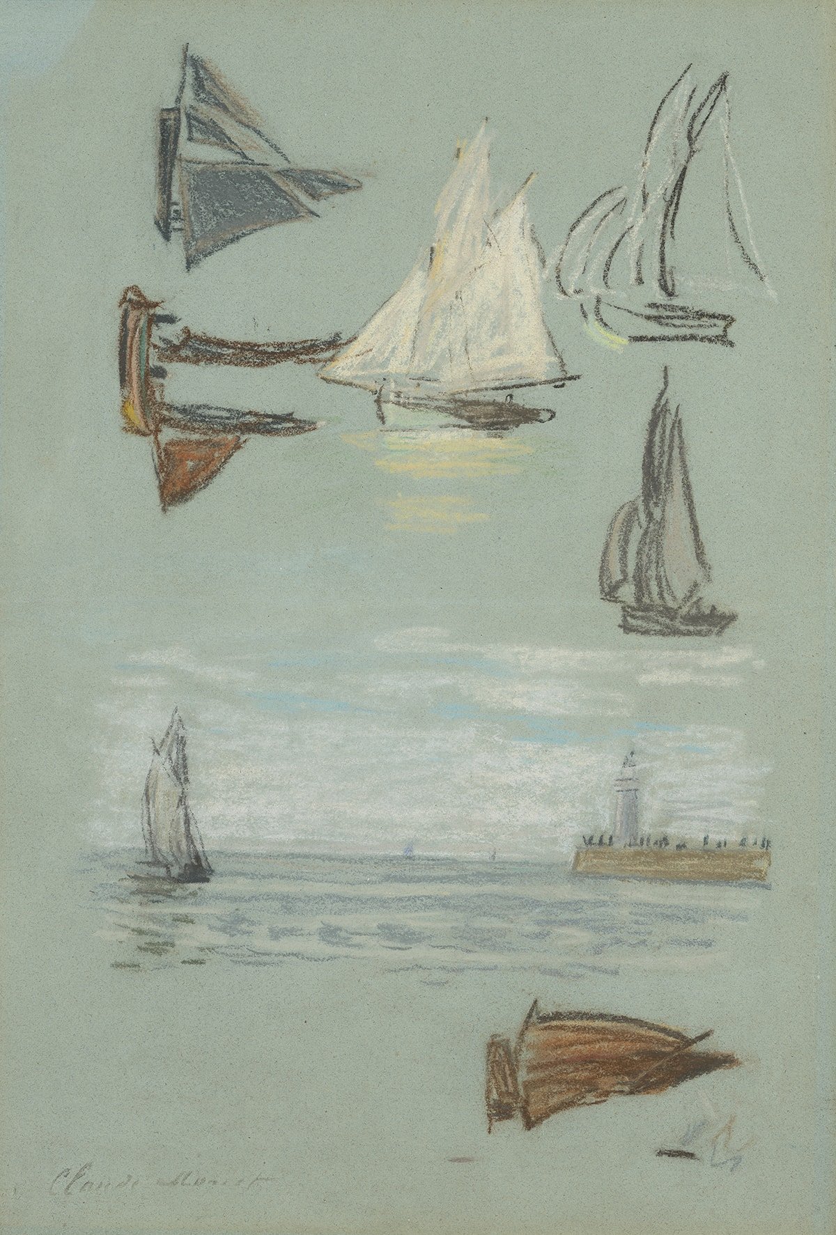 Honfleur, voiliers et phare (Honfleur, Sailboats and Lighthouse), Claude Monet, 18 ¼ x 12 ½ inches, pastel on blue paper. A vertical rectangular sketch of different sailing vessels and a seascape. The top half of the sketch shows five sailboats, sketched independently and oriented in two directions. At left, two boats can be seen on their sides as if drawn when the paper was turned horizontally. The one at top is gray and has broad sails. Below is a brown boat with two of its three sails lowered. At center is a larger boat with full white sails. At right top is a vessel in outlined gray and white. Below it is another boat in gray and pink. The lower half of the sketch shows a scene with a gray sailboat at left and a jetty and lighthouse across a body of water with a white cloud filled sky at right. Bottom right holds a brown boat again on its side. The individual sketches reveal the artist's hand with loose, quick strokes of pastel. The artist's signature is seen at bottom left.