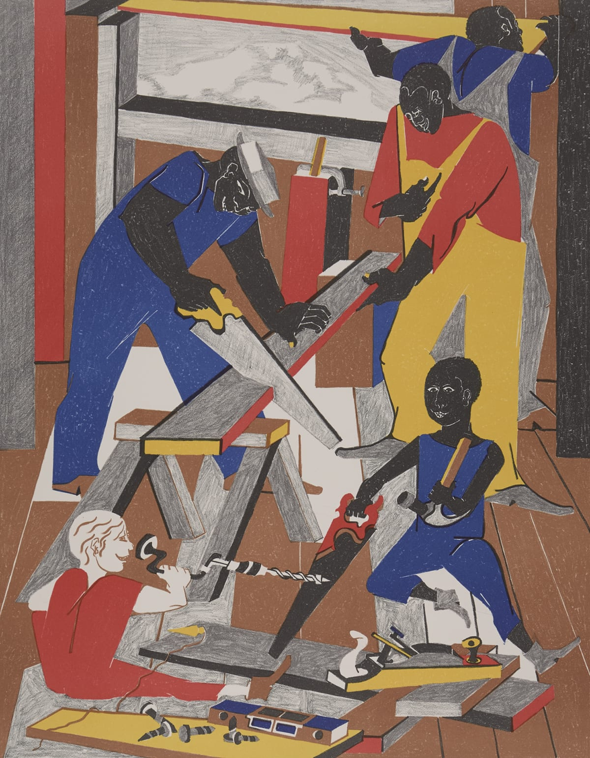 Workshop. Jacob Lawrence 1972. 22 1/4 in x 17 9/16 in. Color lithograph on paper. Portrait-oriented brightly colored lithograph reminiscent of Cubism showing five construction workers. A young white man with brown hair wearing red overalls without a shirt smiles while sitting on the ground, right leg outstretched, holding a wood hand crank brace with a drill bit. A yellow plumb bob with a brown string lays over his leg. To his right a young Black man with short black hair wears blue overalls without a shirt and uses a hand saw with his right hand while holding an upside down hammer with his left. Behind him two older Black men work on either side of a wood plank that is being supported by a saw horse. The man on the left has large muscular arms and wears blue overalls with a blue shirt and a white hat. He uses a hand saw with his right hand while resting his left hand on the board. On the right, a tall Black man with short dark hair wears yellow overalls with a long sleeve red shirt. He holds the board steady with his left hand while holding a small tool close to his chest in his right hand. Behind him a tall Black man with dark hair wears gray overalls with a blue shirt. He faces away from the others, lifting a yellow and red beam and placing it in what appears to be a window frame. Through the window frame, gray landscape can be seen. Brown wood plank floors fill the frame and wood boards, screws, a blue level, and other metal tools are stacked on the floor at the bottom of the frame.