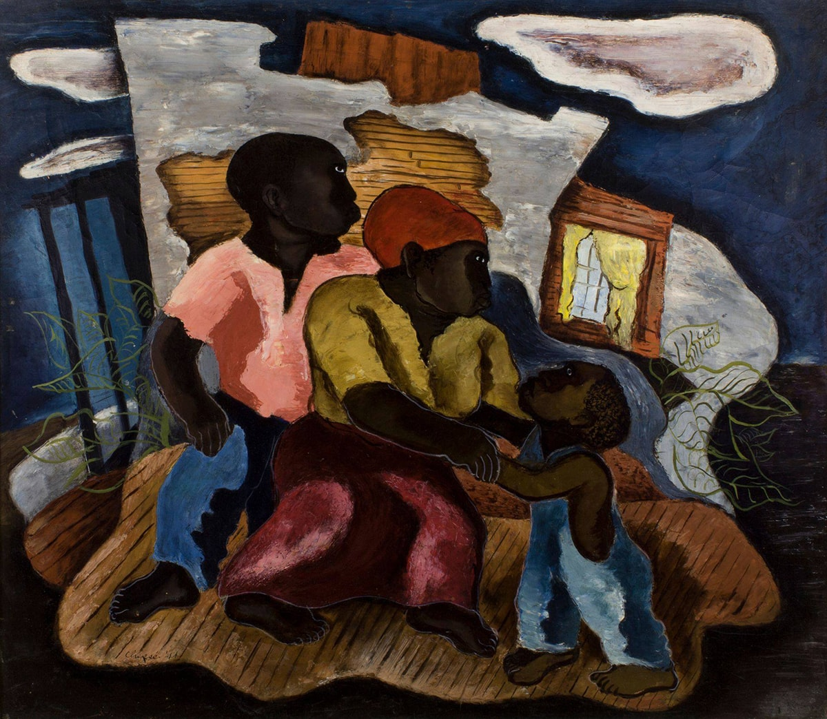 A square oil painting of a family of three dark skinned individuals: a male presenting figure, a female presenting figure and a child figure. The figures are highly stylized with thick, truncated bodies. Each has their head turned to the side showing a prominent jawline and flat eyes placed high on and close to the bridge of the nose. At center is the mother figure, she reaches out her arms grasping the child's arm who stands on the right. The mother wears a yellow top, red skirt and an orange-red head covering. The child wears blue overalls and stretches his arms out to its mother. His head is tilted up, he has short curly hair with scalp peeking through. On the left the father figure stands slightly behind the mother in an opened neck pink shirt and blue pants. All three figures are barefoot. Brushwork appears thick, layered and rough. The family stands in a surreal setting: the brown floor they stand on almost appears to be a raft on which they float, the interior wall behind suggests a plaster wall with exposed wood lathe. A window with yellow curtains appears at right. The background is depicted as a deep blue sky with several white clouds. On either side of the family appear the outlines of bunches of green leaves. The painting is in a white square frame that shows exposed wood, looking scraped and worn.