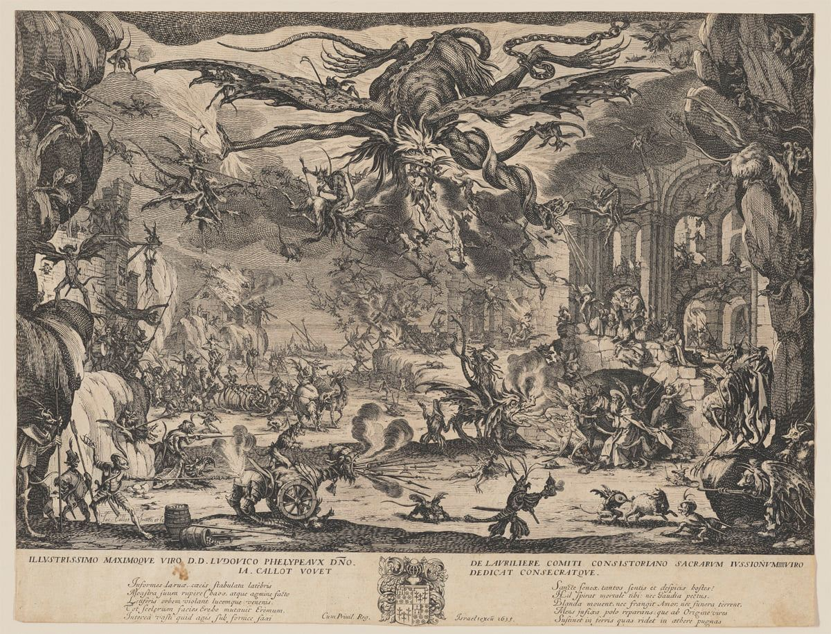 The Temptation of St Anthony, Jacques Callot, etching, plate: 12 1/8 x 18 inches, sheet: 13 13/16 x 18 inches. A landscape-oriented print depicting a hellish scene filled winged demons and monsters amid architectural rubble. The upper center of the black on cream colored paper print is dominated by a large, winged creature with clawed hands, horns and a gaping mouth out of which spews more fire breathing demons. The creature's wings are spread in flight as are its well-muscled limbs. More demons cling to the larger one which clutches sheaves of fire in its claws at left and has a serpent wrapped around its limb at right. Below this demon is a frenetic scene of smaller demons and monsters who swarm and torture. The print's edge at left shows a rocky outcropping in the foreground on which monsters cling. The background shows the ruins of a large stone structure and beyond that is a house in flames. In the middle ground at left, demons and monsters parade lead by four-legged beasts and a bony carcass. The middle foreground holds another beast this time with two hind legs and large wheels for front legs being driven by a fury demon while it breathes fire and rolls over another demon. The print's edge at left shows more rock outcroppings, each festooned with demons. Beyond this is an architectural façade of a series of arches that tower above a smaller stone arch. It is in front of this arch that St Anthony stands, in long robes and halo, being pushed, pulled and tortured by an assortment of demons. Jeering demons hang off the stone arch above him. To the left of the Saint, a winged beast being ridden by a demon, spews fire at him. The entire scene is alive with demons flying in the sky, climbing rocks and ruins and torturing one another. The etching features heavy crosshatching to achieve light and dark effects. A thin border of cream encompasses the top and sides of the print with a thicker border along the bottom. This border contains a large center crest flanked by writing in Latin.