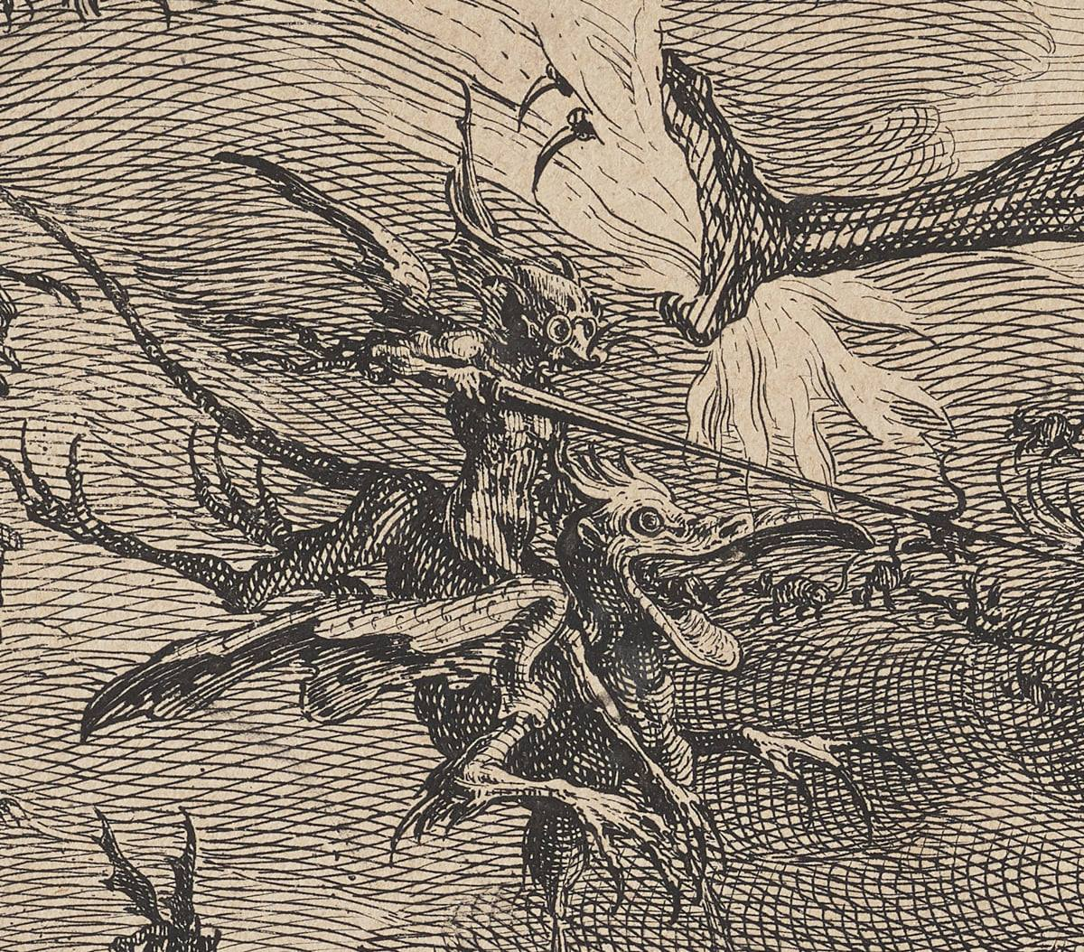 Detail of a spear wielding demon riding a winged four-legged monster. The demon has bat-like wings and a mousey snout and appears to be wearing spectacles. The monster he is riding has a large gaping bill, long claws and a rat-like tail. Above them is the claw of the large center demon clutching fire.