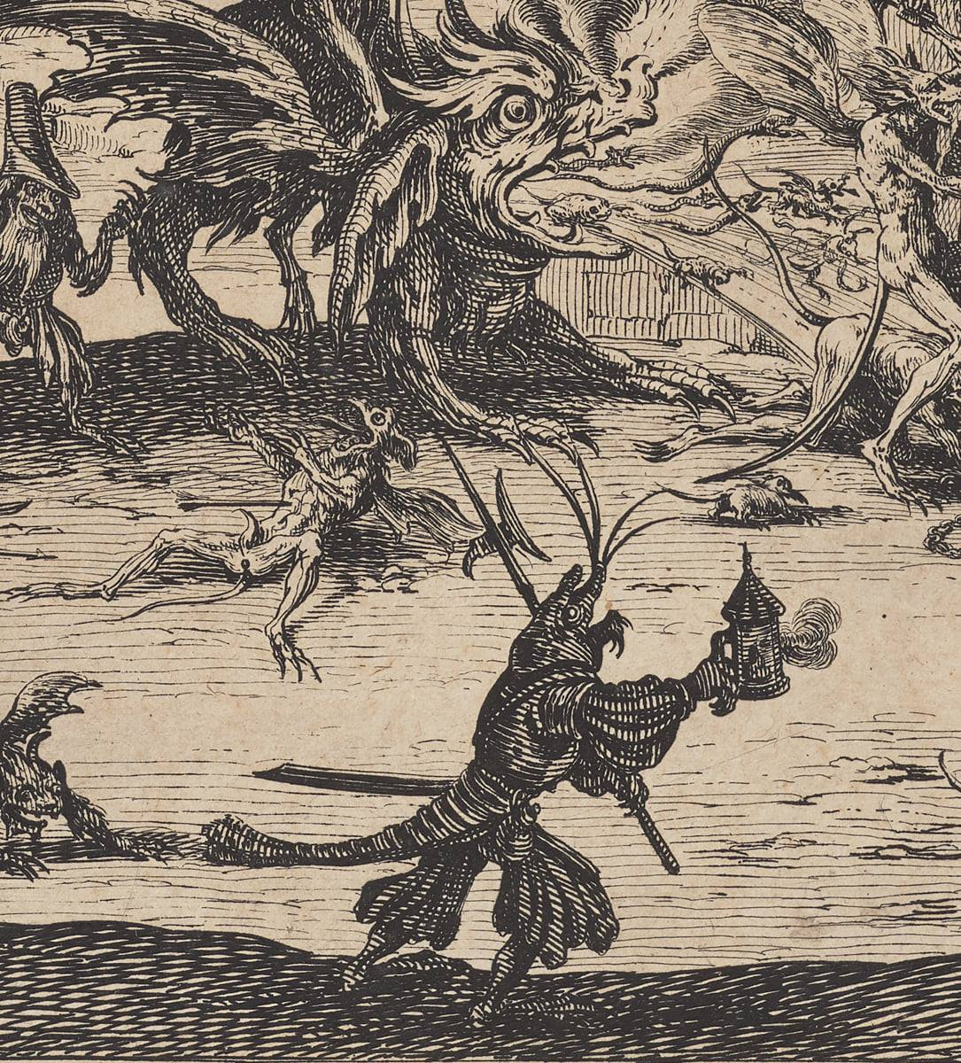 Detail of a demon with a head similar to a lobster, this time dressed in knee breeches and coat, holding a lantern and halberd, a combined spear and battle axe. Above the demon is a beast on all fours with a large head. It breathes fires from a gaping mouth and has bulging eyes. One demon is seen fleeing the fire and another lays on its back in anticipation of an attack by a third demon.