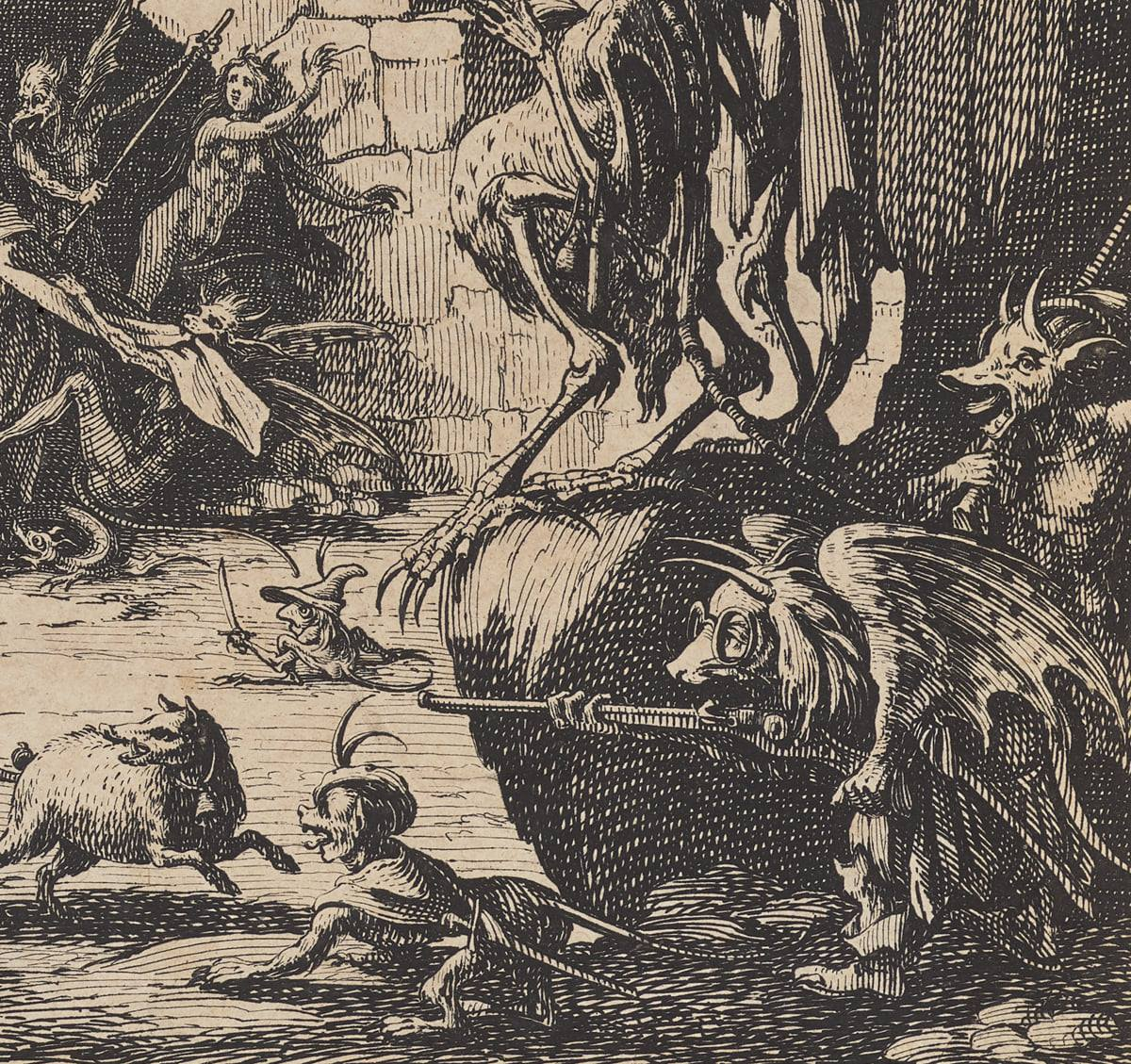 Detail showing demons and monsters looking on at the torture of St Anthony from a nearby boulder. Two winged, horned demons shelter behind the boulder, one holding a long barreled gun and wearing spectacles. Another dog-like beast stands near the boulder while a sheep-like creature runs towards it. The legs of other creatures are partially seen standing on the boulder.
