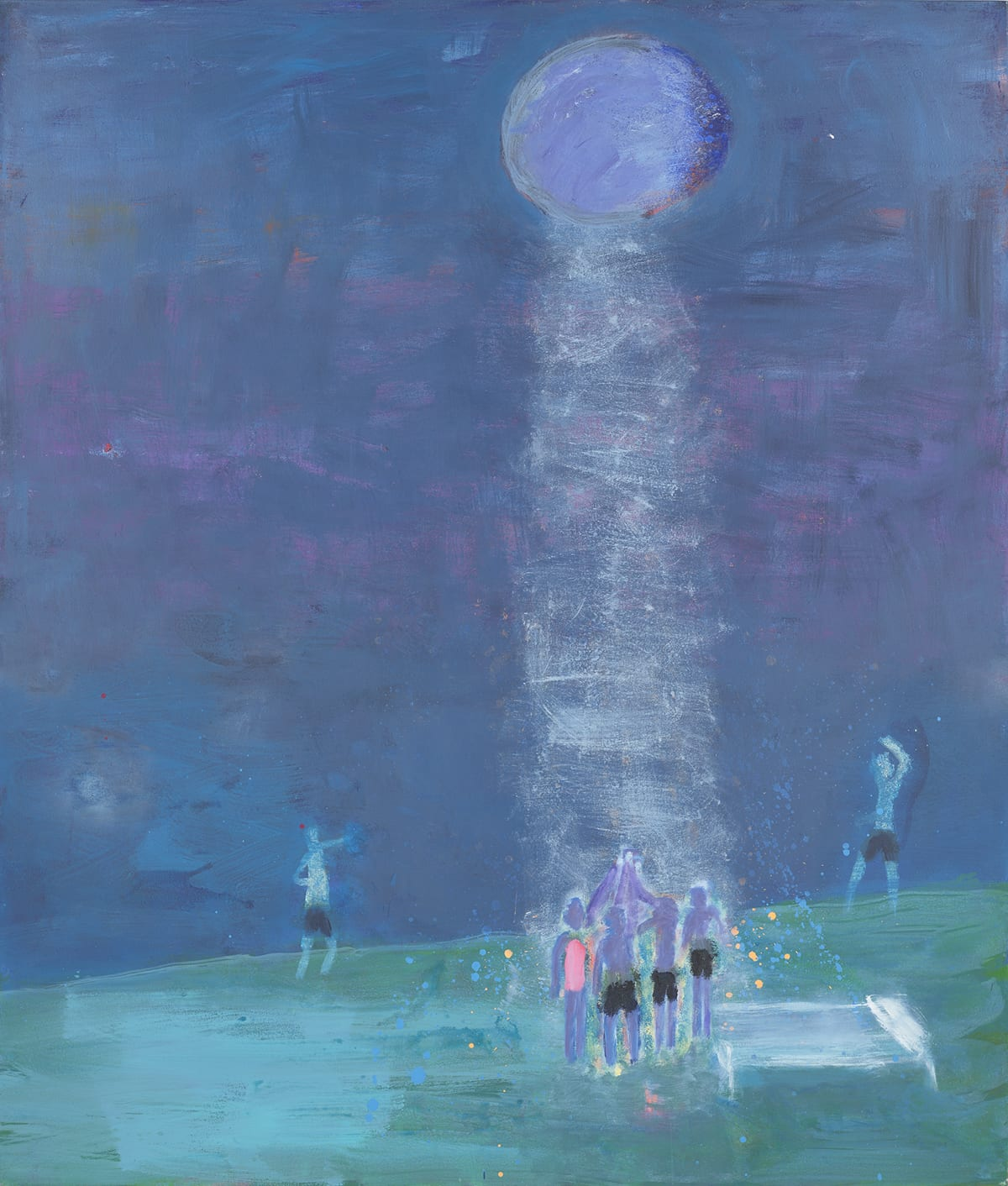Ritual, Katherine Bradford, 80 x 68 inches, acrylic on canvas. A portrait-oriented painting depicting figures gathered beneath a full moon. This painting is rendered in hues of blues and greens with hints of pinks and purples. At the center top is a round pale blue orb with darker shading on its right edge. A white cone of light depicted in light brushstrokes emanates from the sphere down to the ground, which starts about a fifth from the bottom edge of the painting. Here swimsuit clad figures gather in the light. Three wear black swim trunks and one at left wears a pink one-piece swimsuit. Their arms are stretched upward towards the light and celestial body or moon. A lone figure in black trunks stands at left and another stands at right with their arm over their head. The bodies of the figures are painted in blues and purples. Near the central gathering, tiny orange and bright blue dots are splattered around the group. A horizontal rectangle resembling a bench or bed sits to the right of the grouping. The sky above the figures' heads is various shades of blue daubed and brushed on with pinks and purples bleeding through. They stand on green-blue ground, with brushstrokes visible.