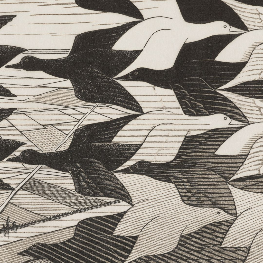 A detail of the upper center of the print focusing on the tessellated confluence of black birds flying leftward with a view of light fields below and white birds flying to the right with a dark background. Moving from top to bottom, the birds devolve into lines and shapes.