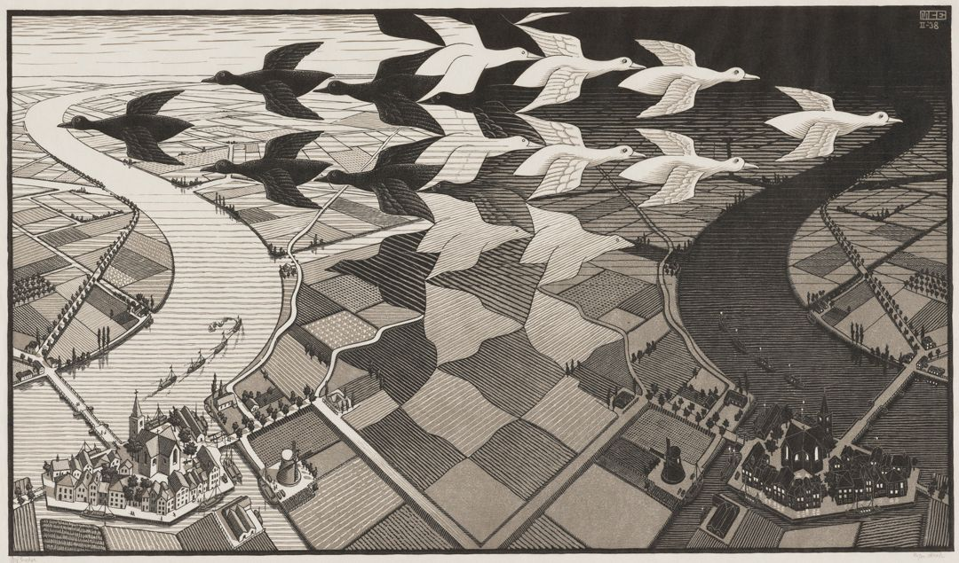 Day & Night. M.C. Escher. 1938. Woodcut in black and gray, printed from two blocks. 15 7/16 in x 26 5/8 in. 1. Aerial view of farm land between two cities and rivers with a flock of birds flying above. The left side of the print is light colored with dark outlines while the right is dark with light outlines. The middle of the print uses an optical illusion where, from one perspective, white birds are flying to the right with a view of dark fields between them and, from another perspective, black birds are flying to the left with a view of light fields between them. The fields below the birds make a checkerboard pattern, but the lines are more organic, forming a variety of shapes. In the bottom left corner is a town with a church in the middle and connected buildings around it in the shape of a trapezoid. Waterways with boats line the edges of the city and a windmill sits across from it. A few farm houses sit at the edges of fields. On the opposite side of the city, a flat narrow draw bridge stretches across the curving river. A line of five ships sail just to the right of the bridge. Across the river a few farmhouses stand in fields and trees line the water passageways between the fields. The right side has the same city, but with dark tones, and is a mirror of the left side. A simple black border surrounds the print.