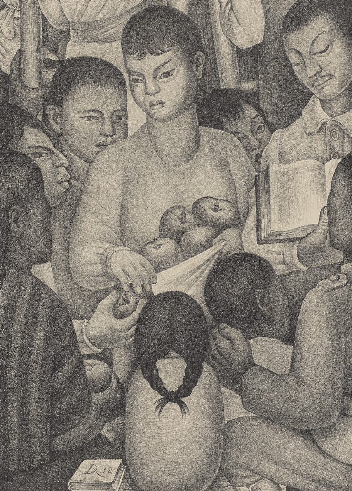Diego Rivera, Los Frutos del Trabajo (The Fruits of Labor), 1932, lithograph on cream wove paper, 16 7/16 in x 11 13/16 inches. Vertical rectangular print rendered in soft gradations of grays of 8 figures seated in a circle turned to a figure in the upper right corner and receiving apples from a central figure. The scene is intimate, tightly cropped, and facial expressions are serene. The central figure is youthful with short hair, head at three-quarter view looking to their right, hand outstretched having given an apple to a seated figure in profile at left. The left hand holds a cloth taut holding a bounty of apples. Three young figures seated behind peek out, obscured by the taller figures. An older mustachioed figure with collared shirt in top right has eyes cast down at a book spread open by his thumb. Four figures in the foreground with backs turned to the viewer face the apple giver and reader. The diminutive small figure at bottom center has long dark hair center-parted and braided, the ends of the braids are joined in a knot. At bottom right, an older figure wearing a jacket with epaulettes has left hand rested on another youth's shoulder. In the foreground, a bound book's cover bears a cursive D and 32.
