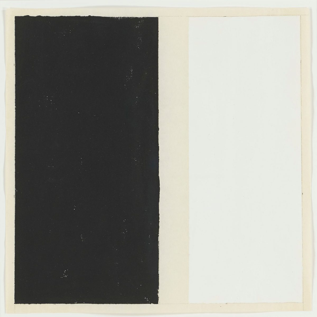 Day Dream Nation, Arnold Kemp, 9 3/8 x 9 ½ inches, graphite and Flashe on Chinese paper. An almost square work showing two upright rectangles, one black and one white, side by side. They are depicted on creamy, off-white ground that both separates and surrounds the two shapes. The black rectangle at left has slightly uneven, rough edges. Specks of white paper show through the graphite throughout the body. At right, the white rectangle is the same height as the black but is narrower and has sharper edges. The shapes are outlined faintly in a thin gray pencil line. The lines connect the two rectangles across the off-white background strip between the two.